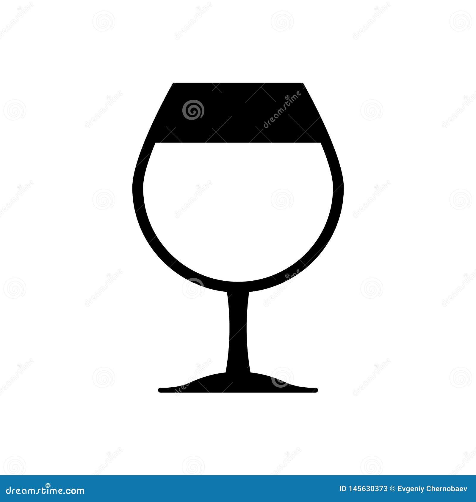 Icône en verre noire eps10 de vin Verre de vin se connecter le fond blanc