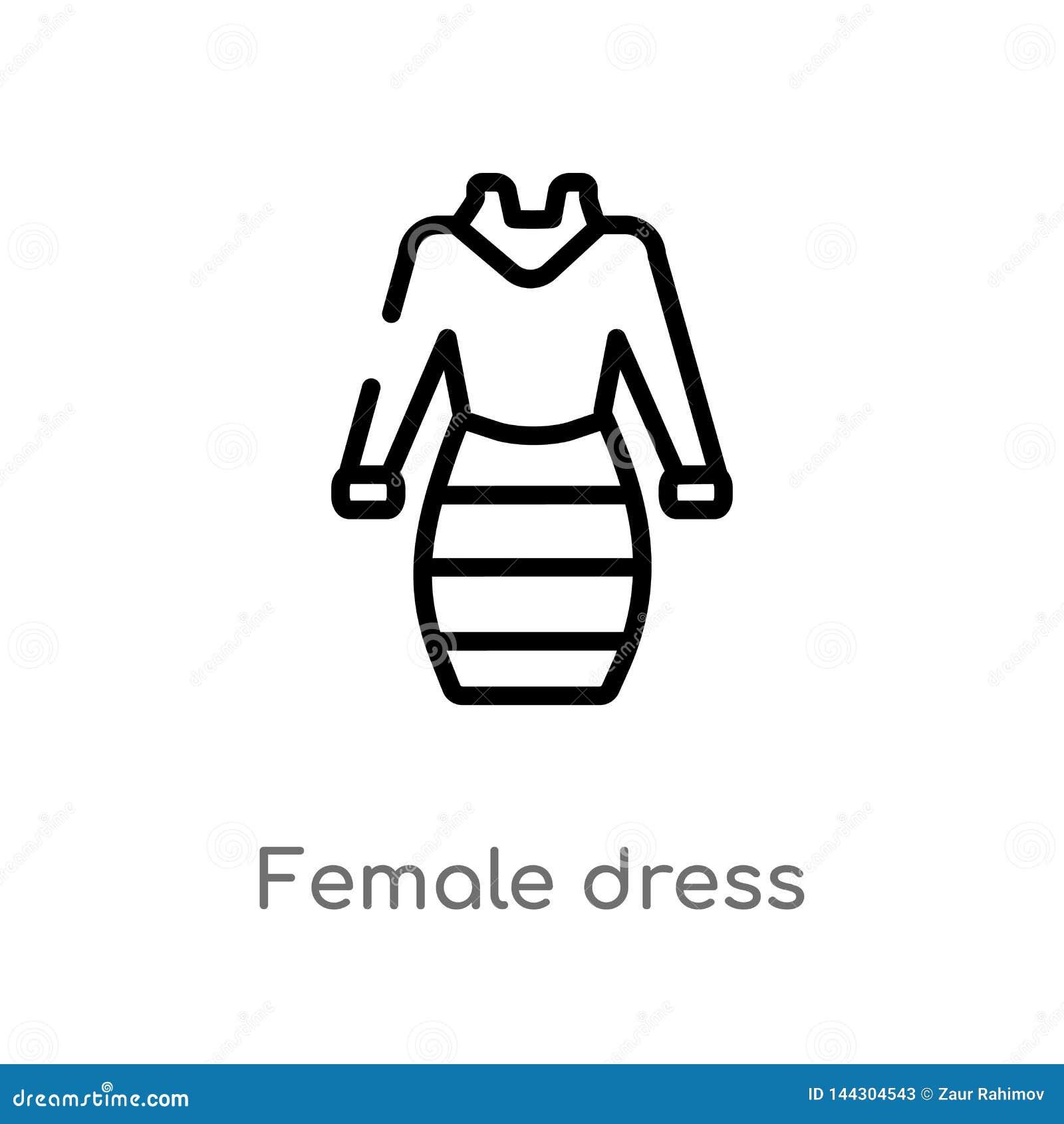 Icône femelle de vecteur de robe d ensemble ligne simple noire d isolement illustration d élément de concept d habillement de fem