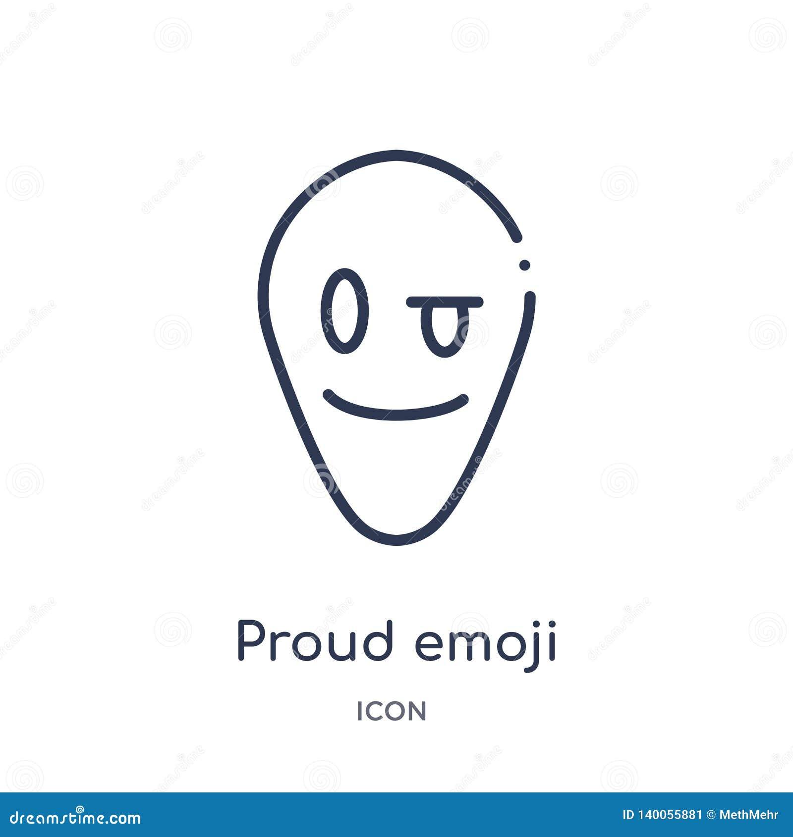 Icône fière linéaire d emoji de collection d ensemble d Emoji Ligne mince vecteur fier d emoji d isolement sur le fond blanc emoj