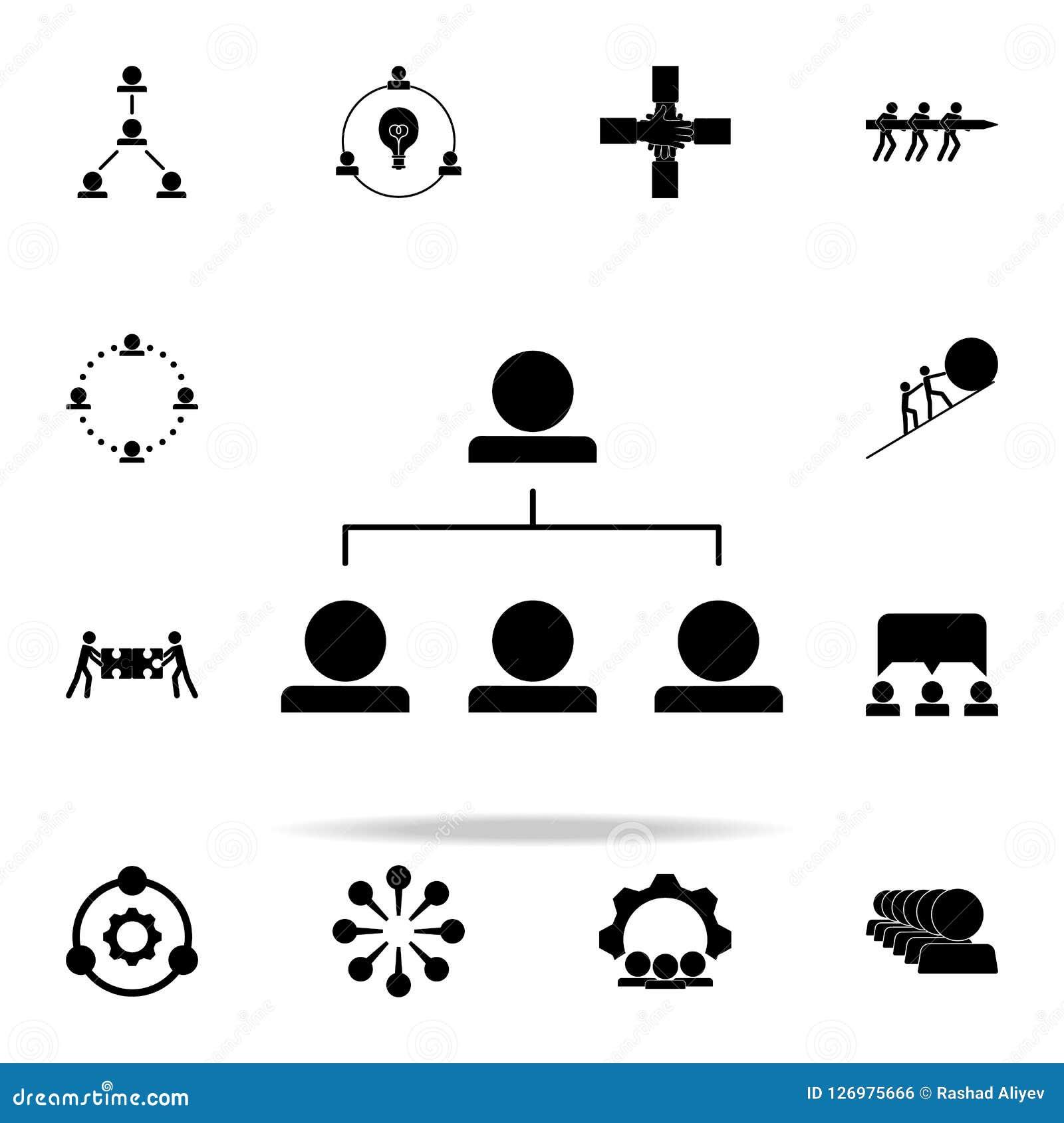 Icône fonctionnante de hiérarchie Ensemble universel d icônes de travail d équipe pour le Web et le mobile