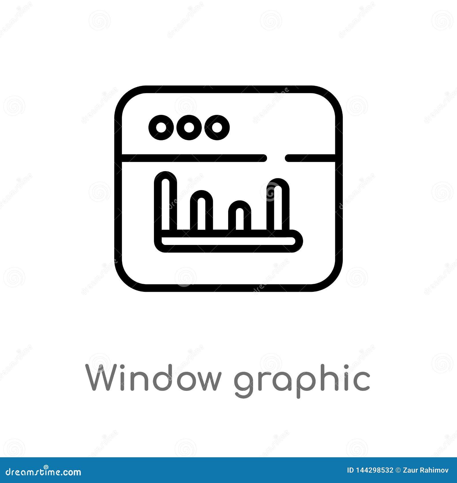 Icône graphique de vecteur de fenêtre d ensemble r Vecteur Editable