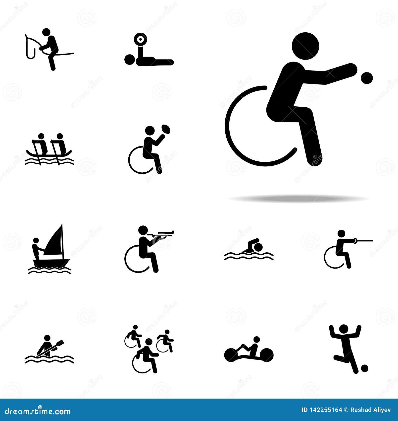 Icône handicapée de boccia de sport ensemble universel d icônes paralympic pour le Web et le mobile