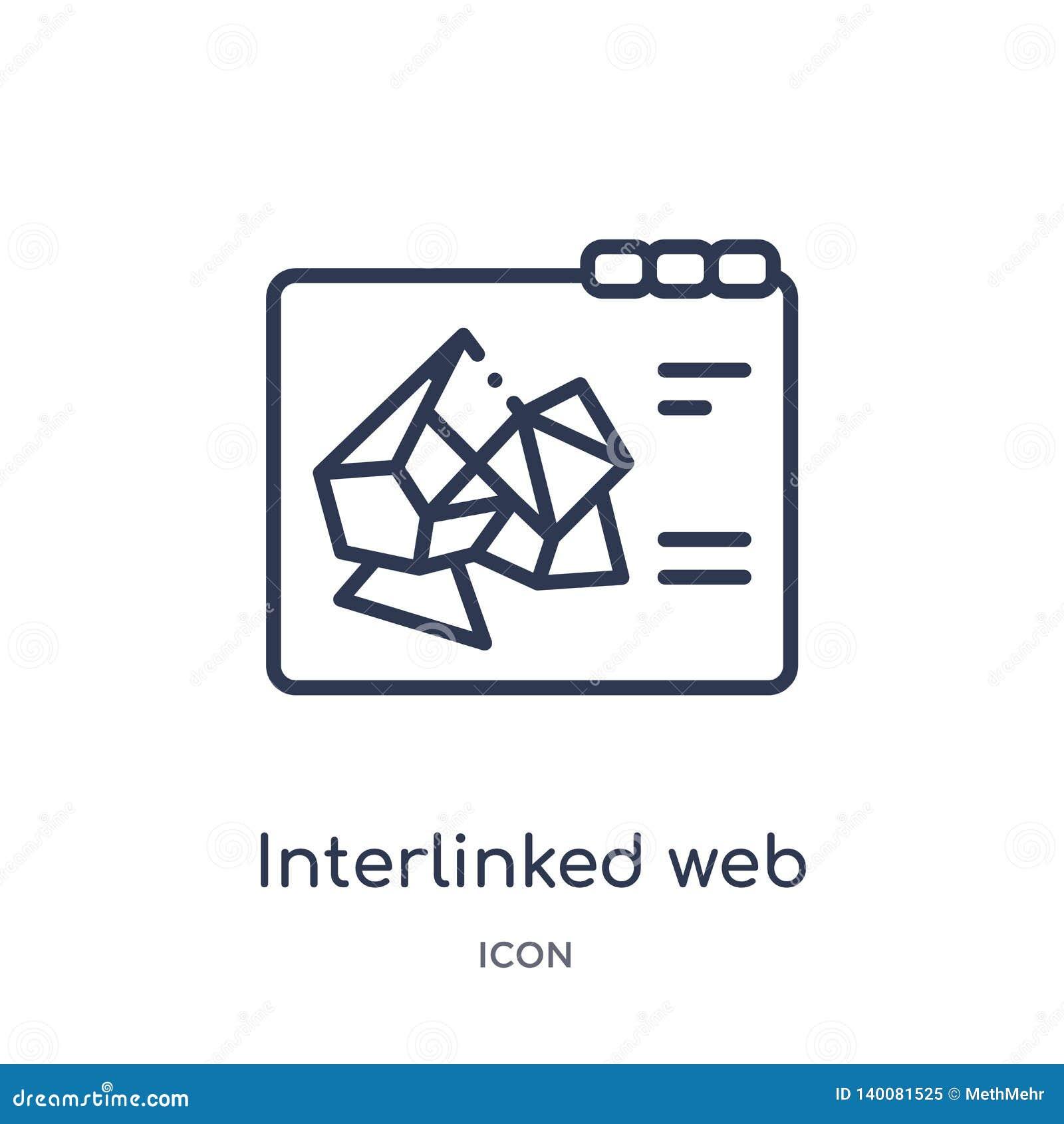 Icône liée de Web de contour de Web