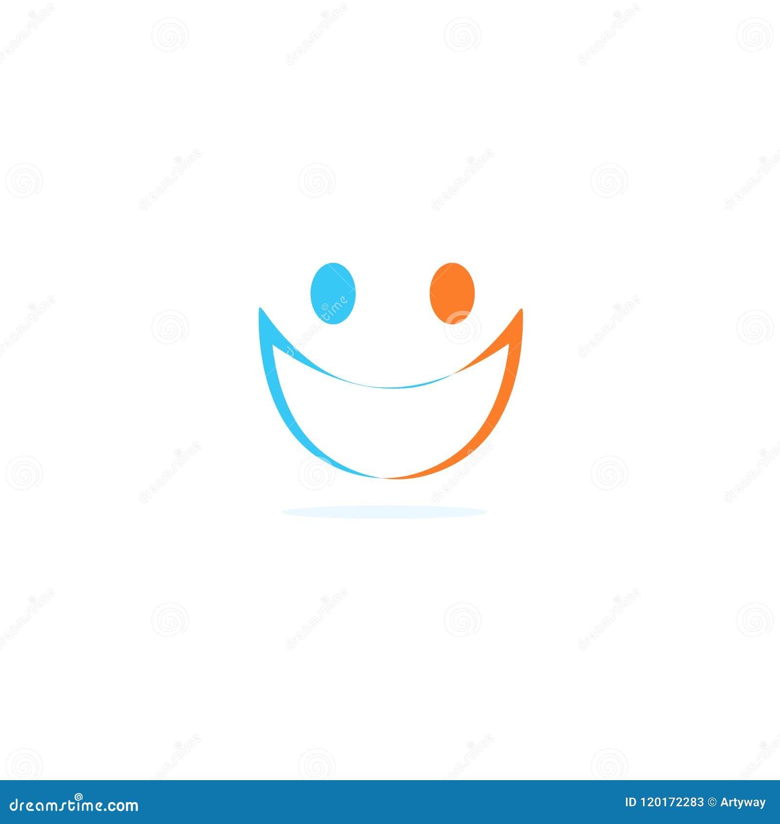 Icône linéaire d abrégé sur silhouette de deux personnes, visage avec le sourire Calibre de logo de vecteur sur le fond blanc