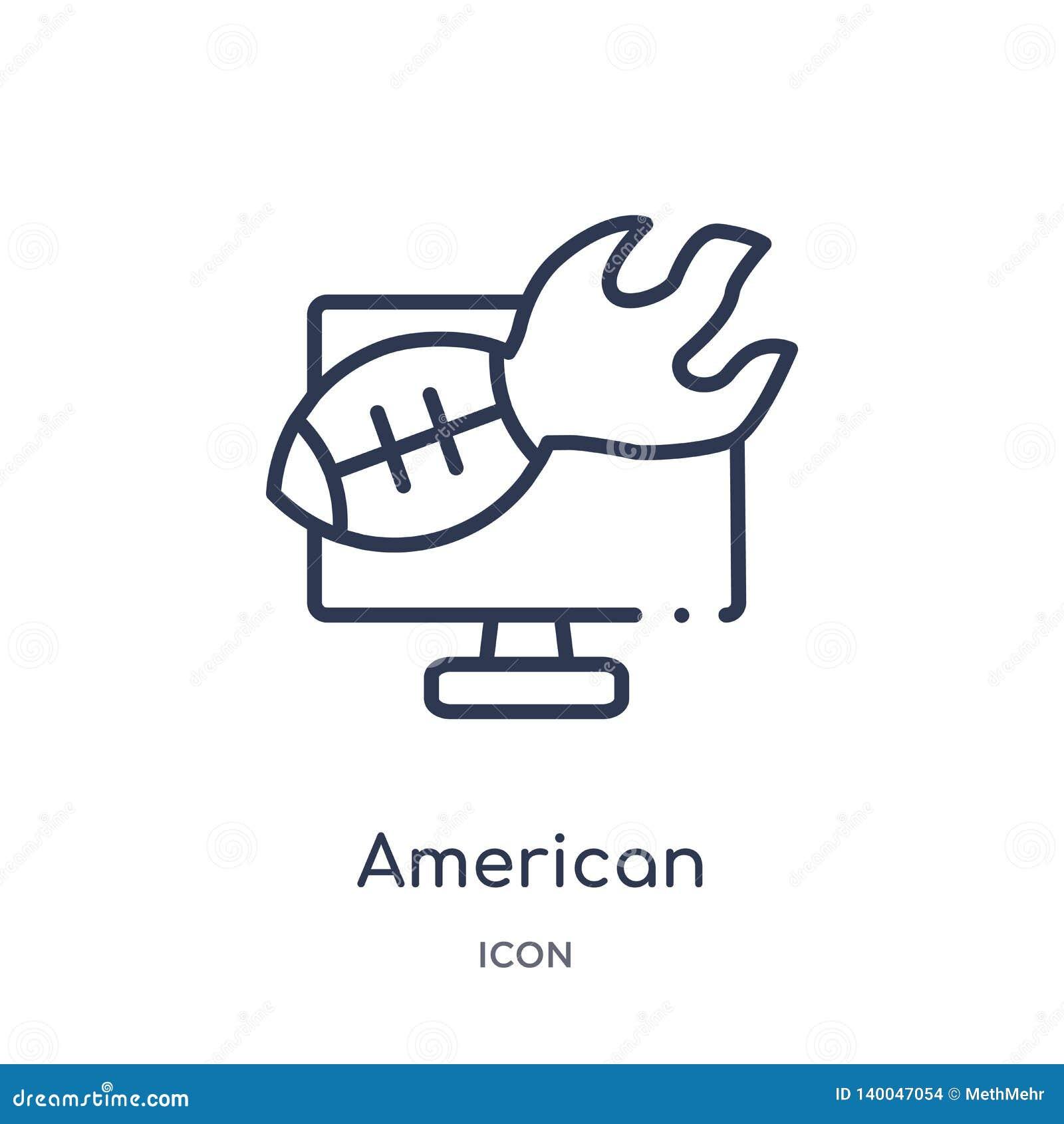 Icône linéaire d annotation de football américain de collection d ensemble de football américain Ligne mince vecteur d annotation