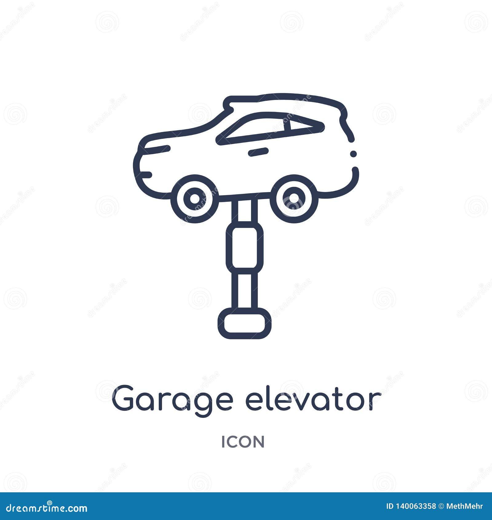 Icône linéaire d ascenseur de garage de collection d ensemble de Mechanicons Ligne mince icône d ascenseur de garage d isolement