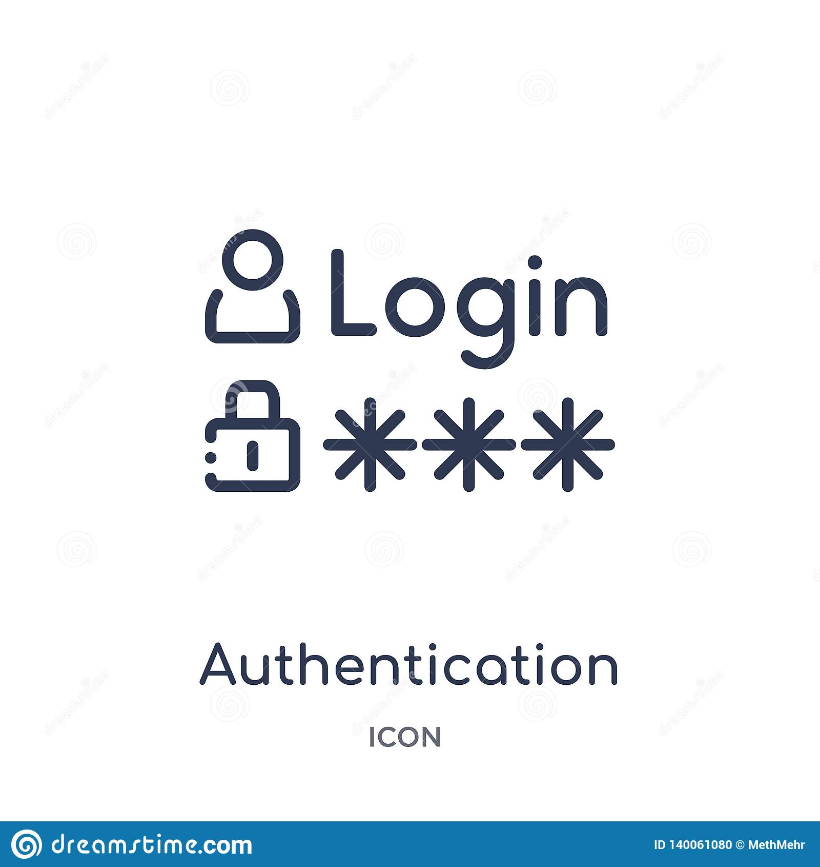 Icône linéaire d authentification de sécurité d Internet et de collection d ensemble de mise en réseau Ligne mince icône d authen