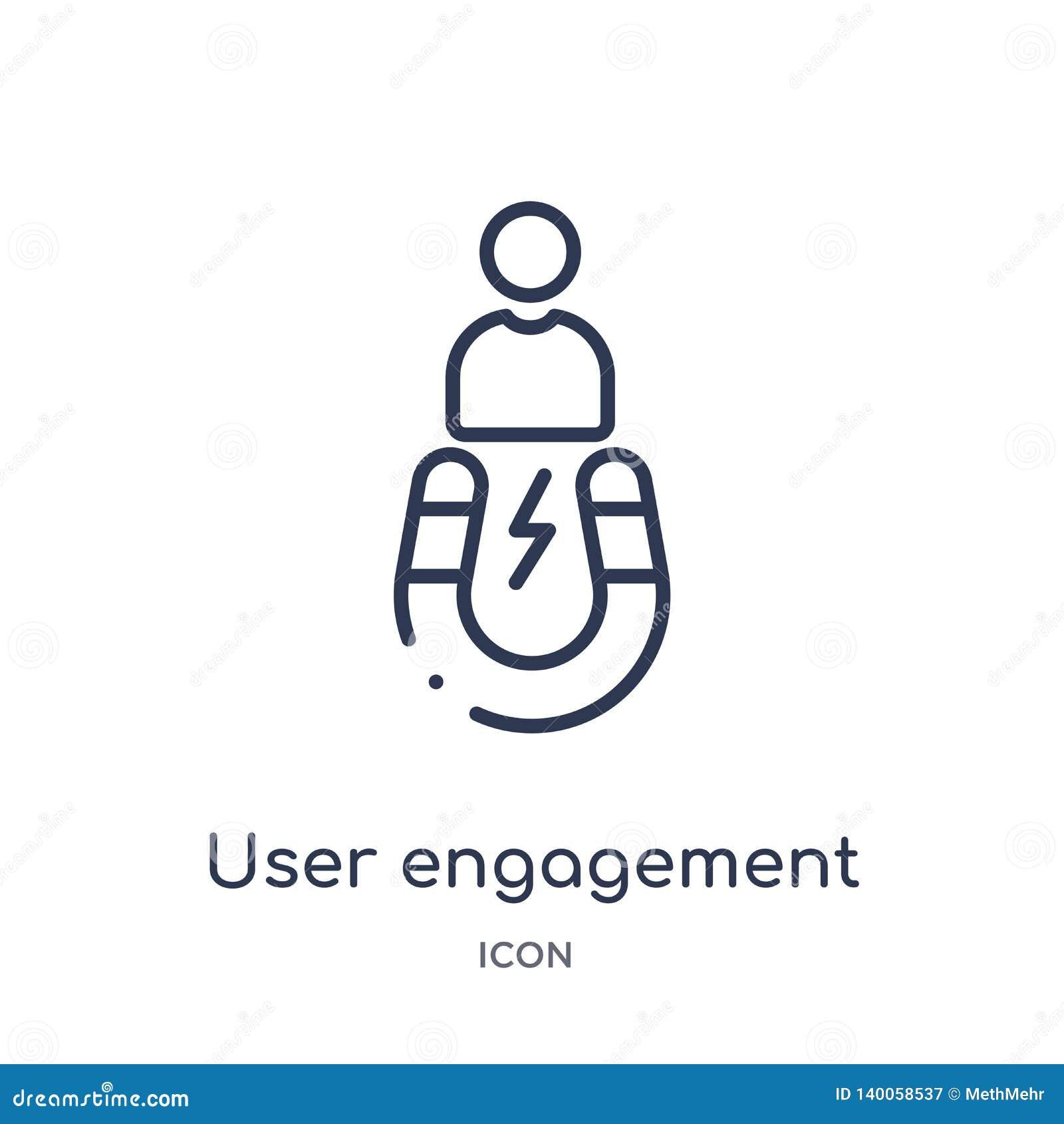 Icône linéaire d engagement d utilisateur de collection d ensemble général Ligne mince icône d engagement d utilisateur d isoleme