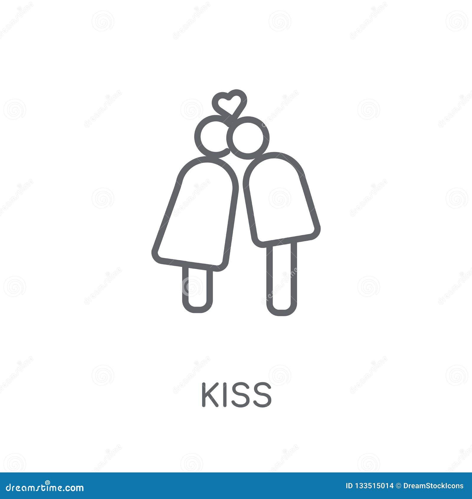 Icône linéaire de baiser Concept moderne de logo de baiser d ensemble sur le dos blanc