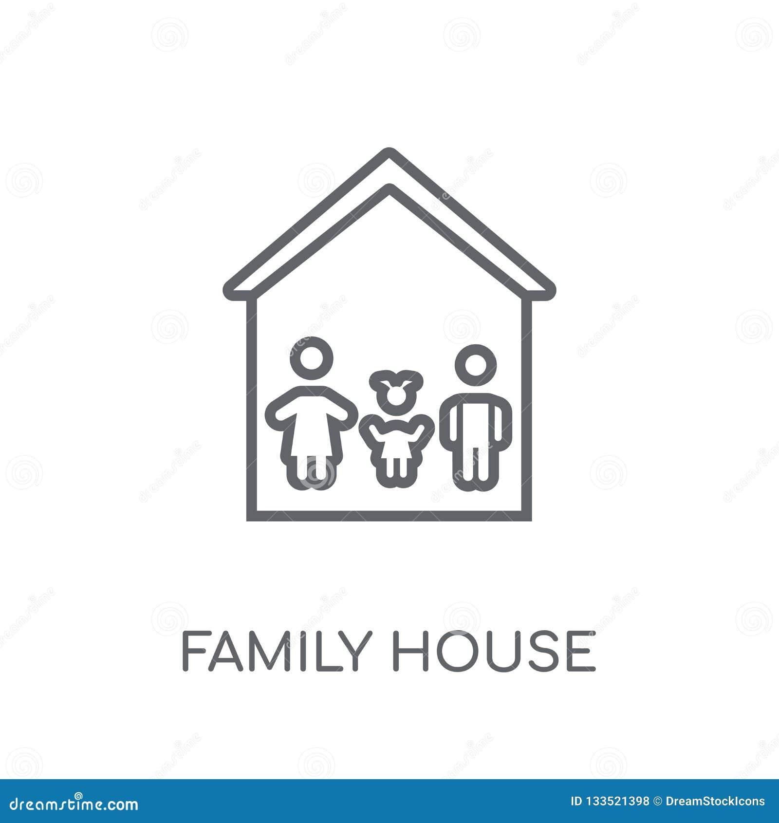 Icône linéaire de Chambre de famille Conce moderne de logo de Chambre de famille d ensemble