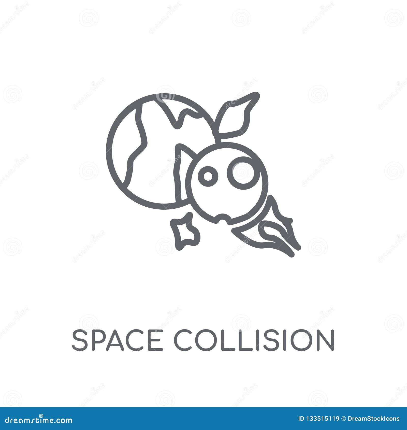 Icône linéaire de collision de l espace Logo moderne de collision de l espace d ensemble