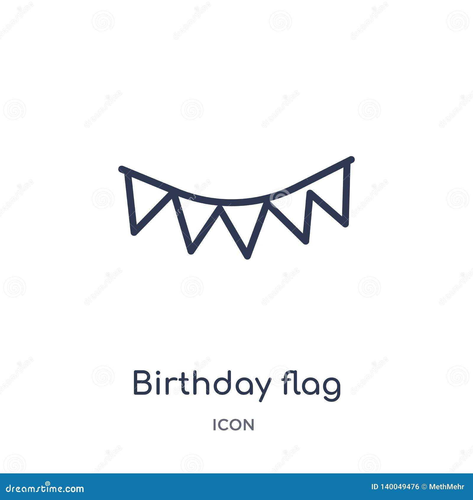 Icône linéaire de drapeau d anniversaire de collection d ensemble de fête d anniversaire Ligne mince vecteur de drapeau d anniver