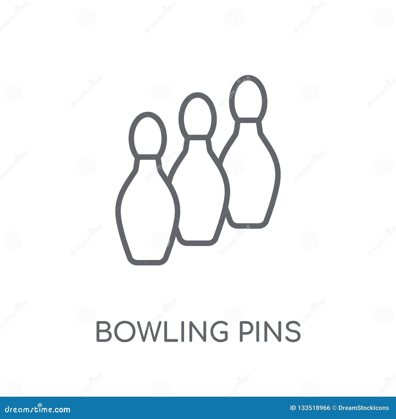 Icône linéaire de goupilles de bowling Conce moderne de logo de goupilles de bowling d ensemble