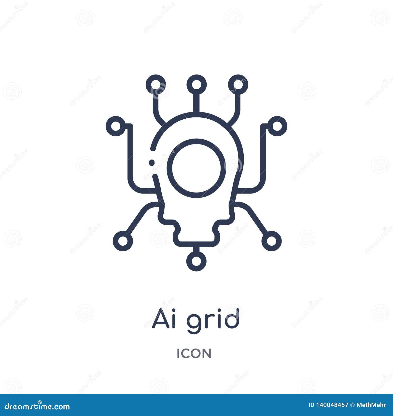 Icône linéaire de grille d AI d intellegence artificiel et de future collection d ensemble de technologie Ligne mince vecteur de