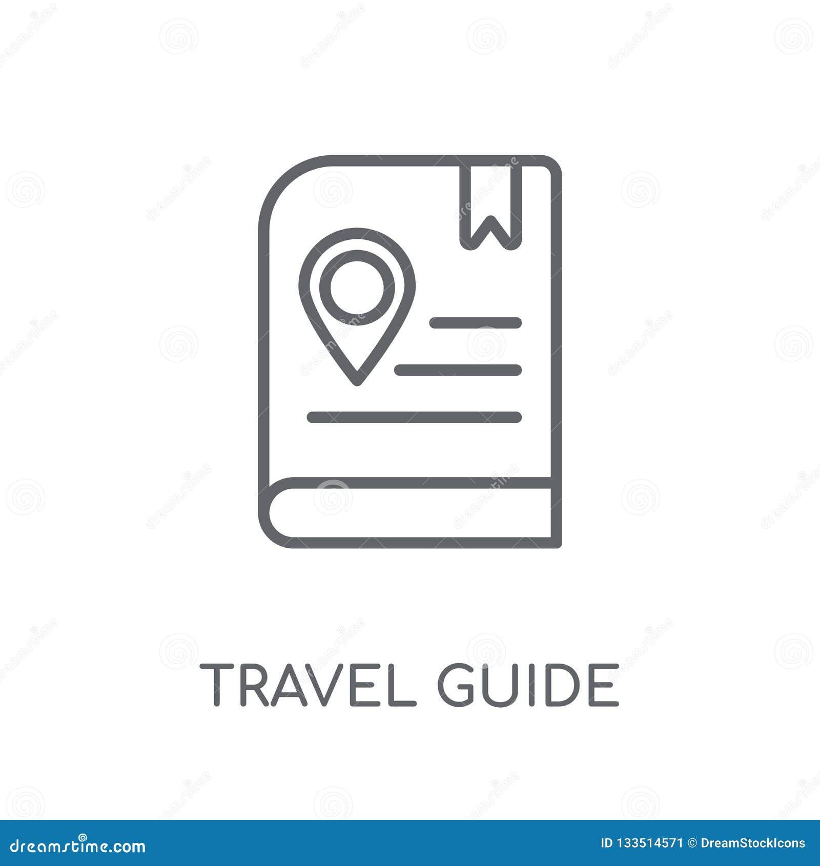 Icône linéaire de guide de voyage Conce moderne de logo de guide de voyage d ensemble