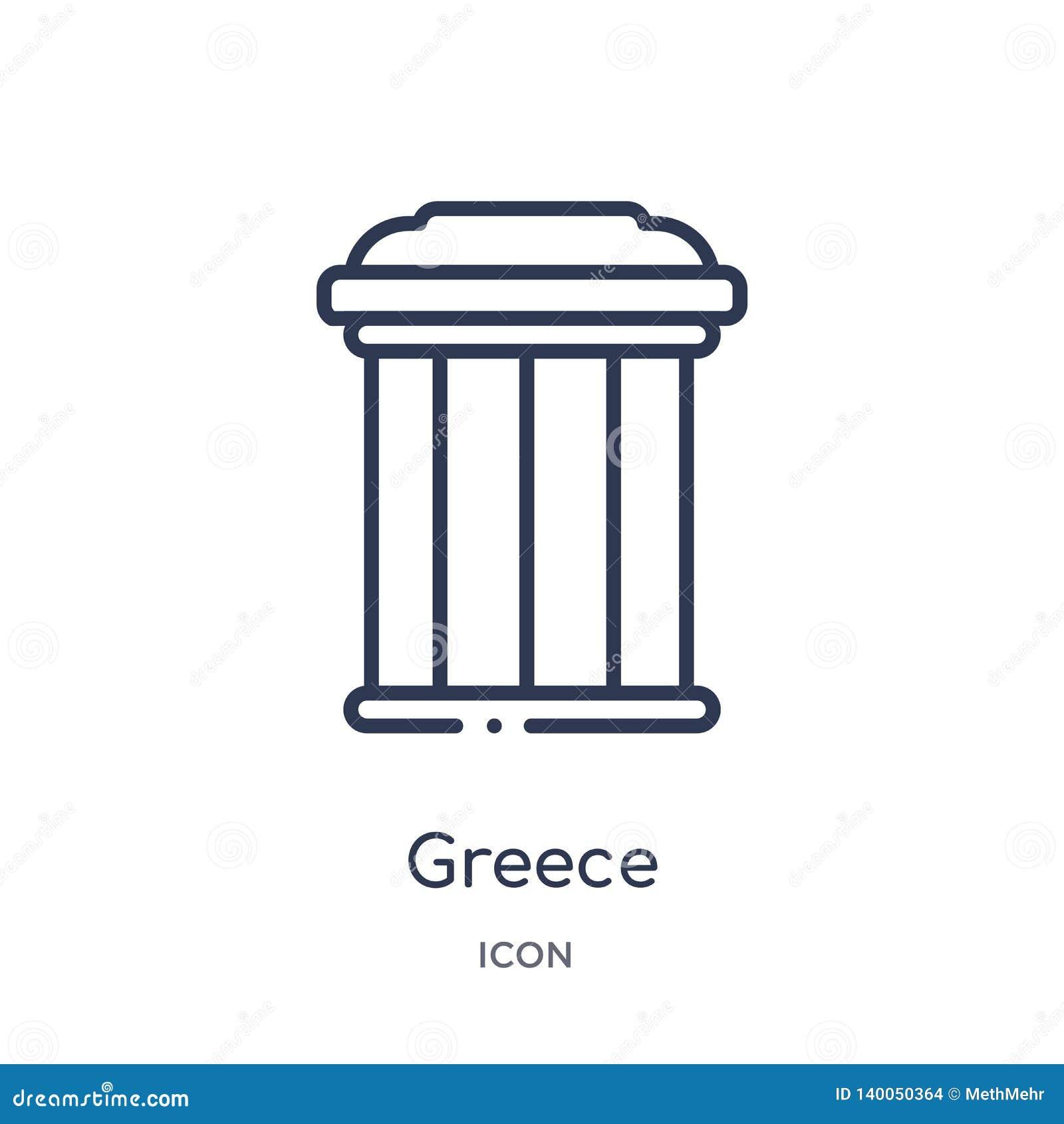 Icône linéaire de la Grèce de collection d ensemble de bâtiments Ligne mince vecteur de la Grèce d isolement sur le fond blanc la