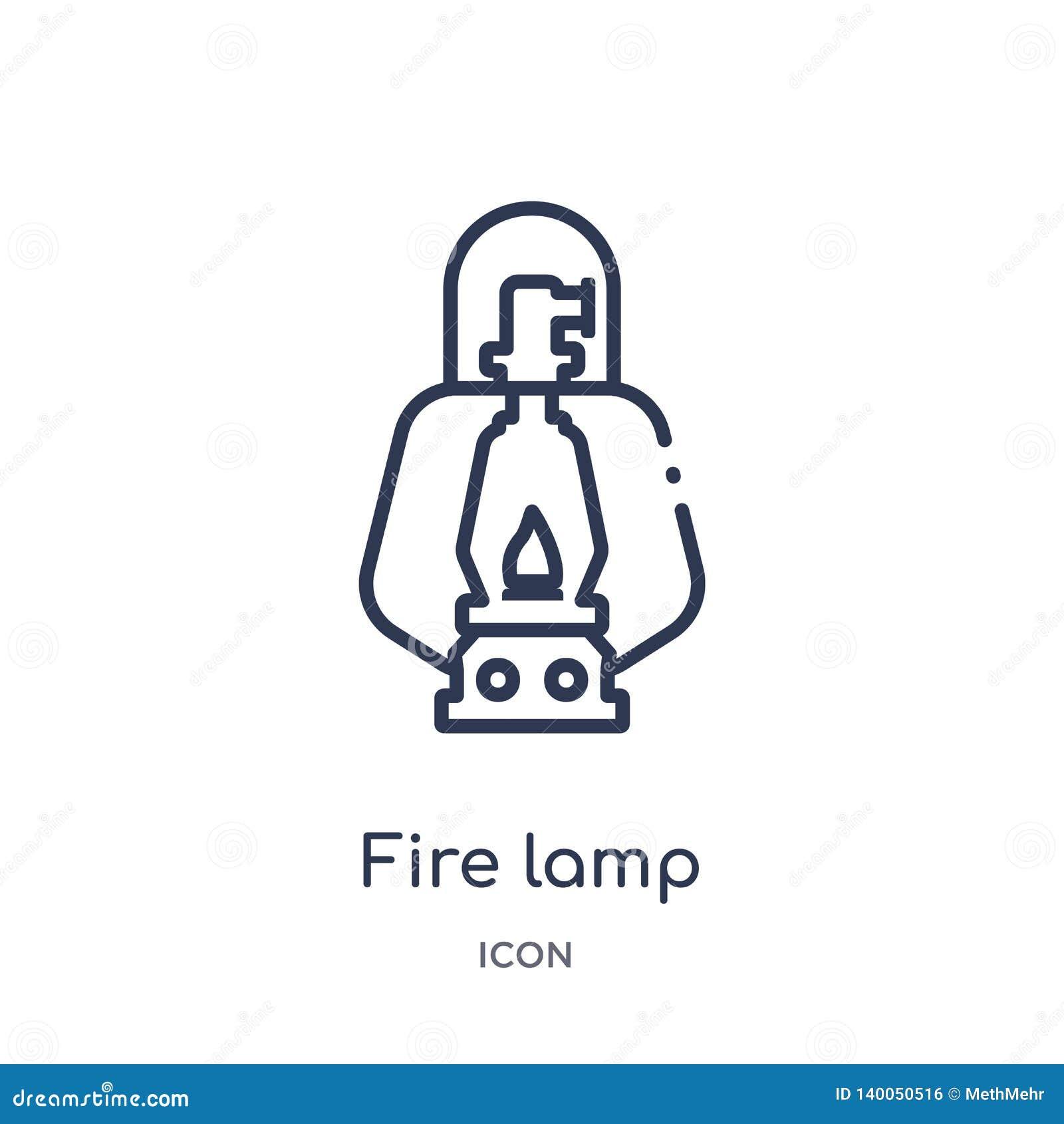 Icône linéaire de lampe du feu de la collection campante d ensemble Ligne mince vecteur de lampe du feu d isolement sur le fond b