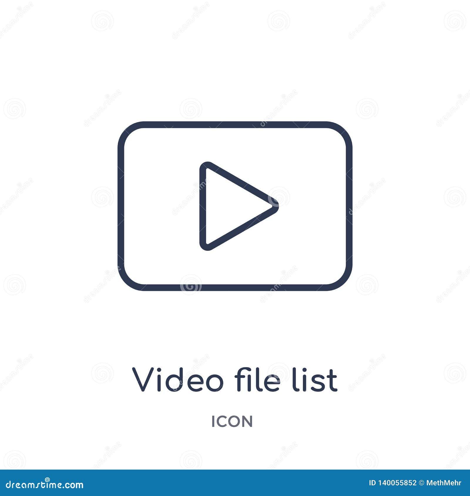 Icône linéaire de liste de fichier vidéo de la collection électronique d ensemble de suffisance de substance Ligne mince vecteur