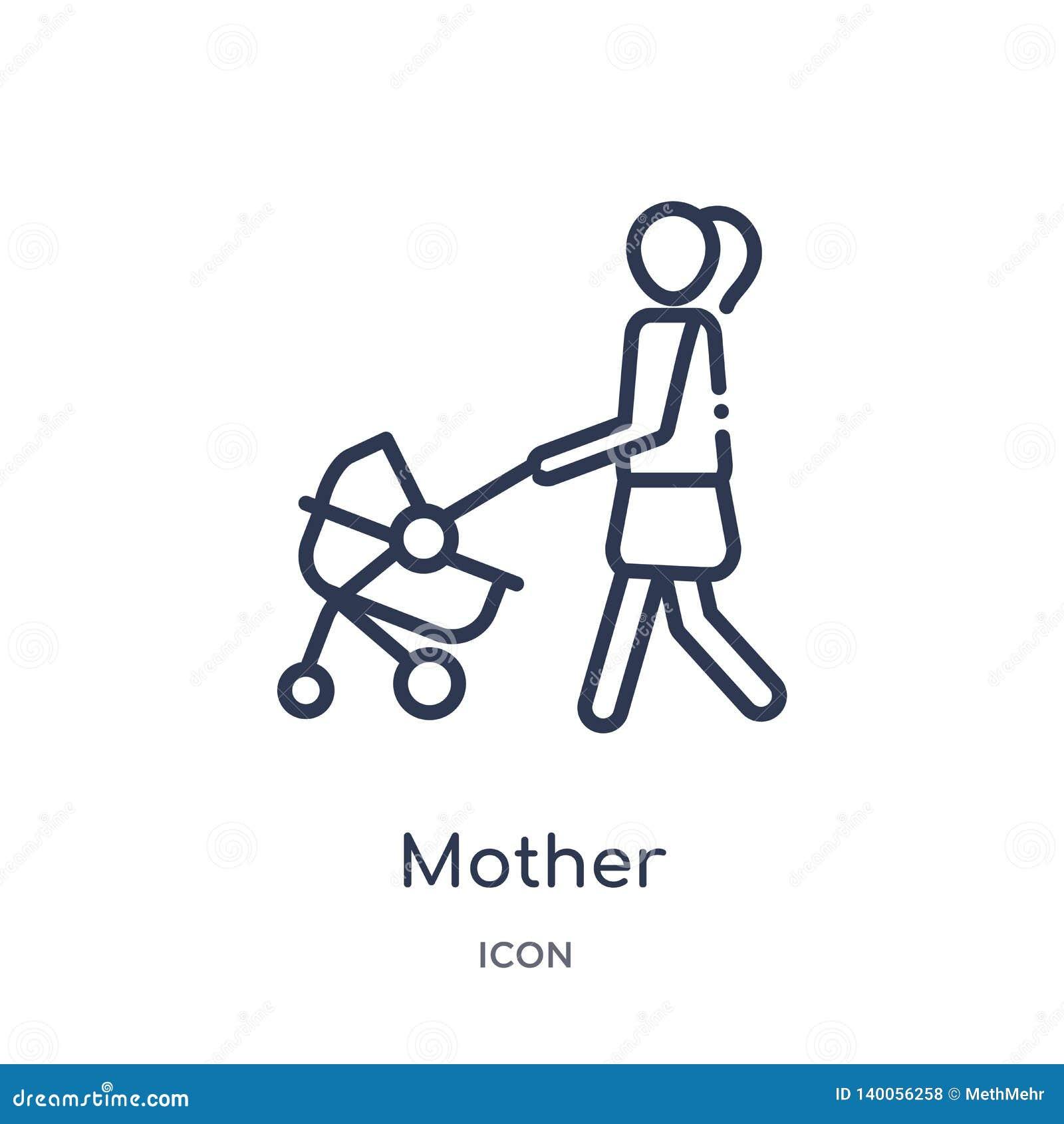 Icône linéaire de mère de collection d ensemble de relations de famille Ligne mince vecteur de mère d isolement sur le fond blanc
