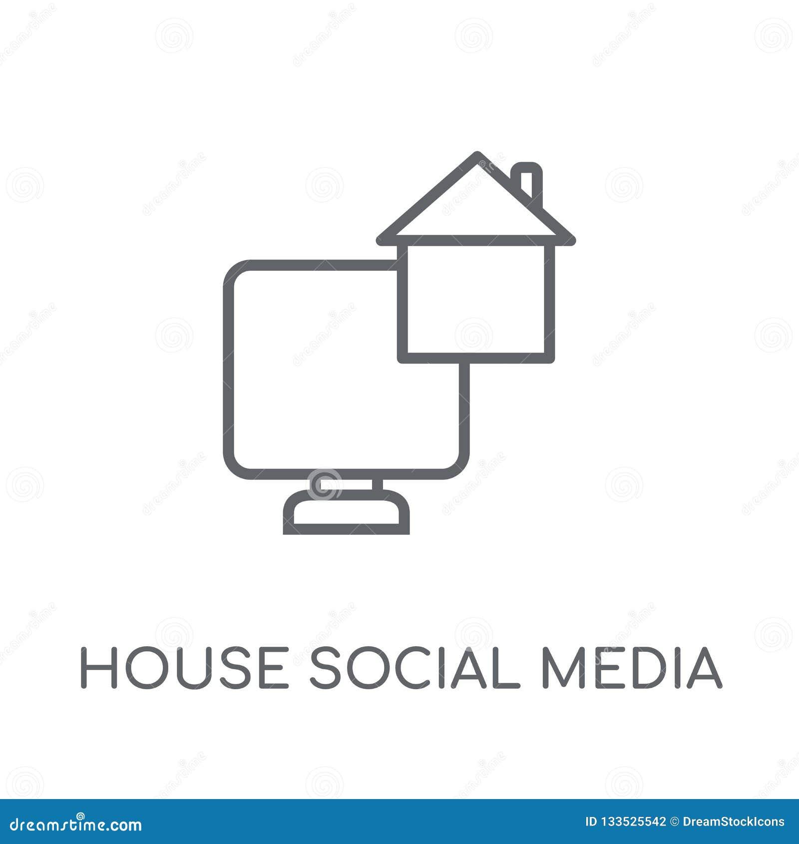 Icône linéaire de médias sociaux de Chambre Medi social de Chambre moderne d ensemble