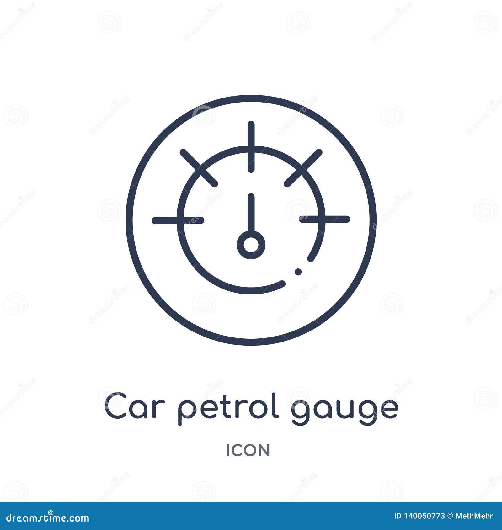 Icône linéaire de mesure d essence de voiture de collection d ensemble de pièces de voiture Ligne mince vecteur de mesure d essen