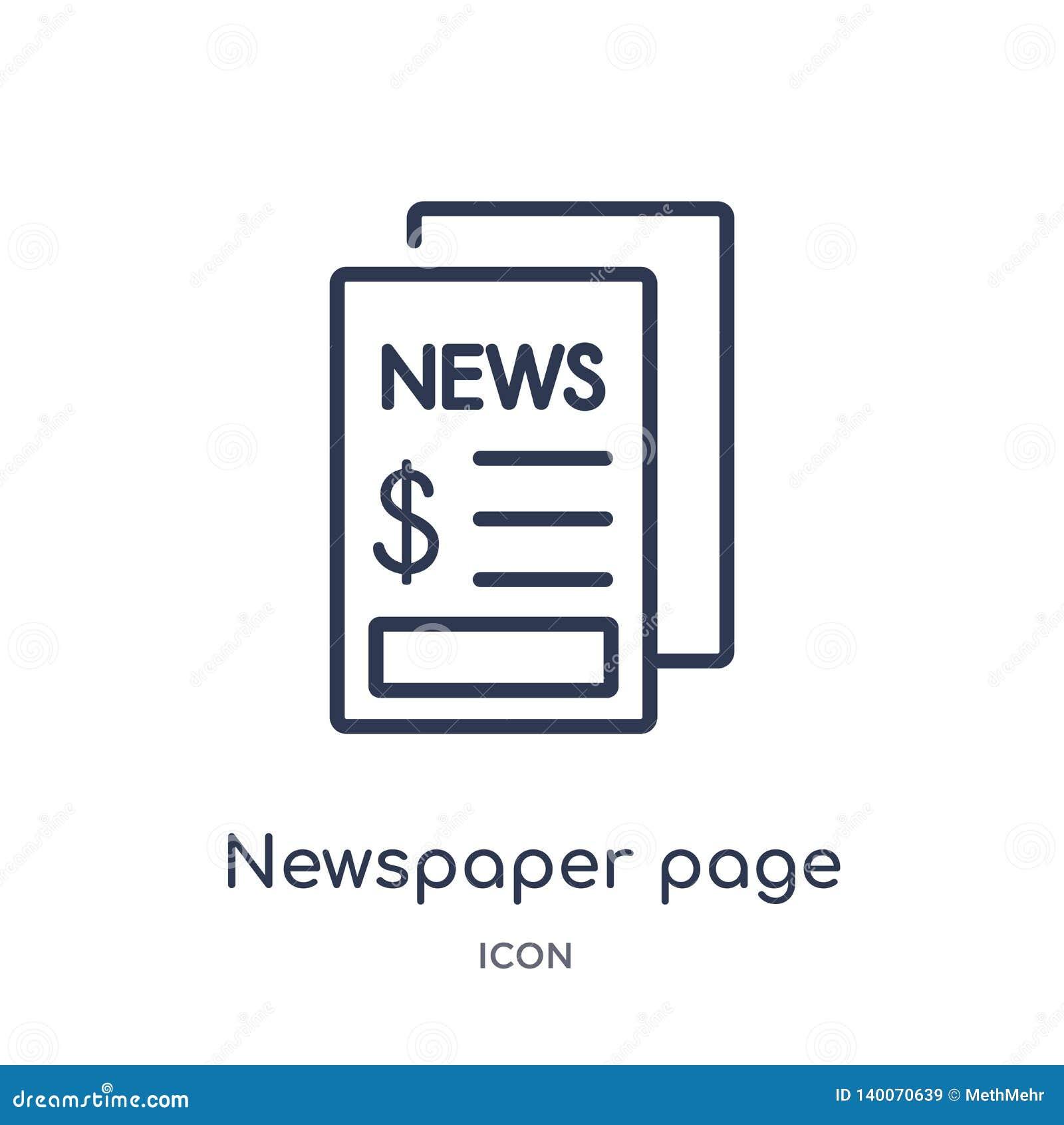 Icône linéaire de page de journal de collection d ensemble d affaires Ligne mince icône de page de journal d isolement sur le fon