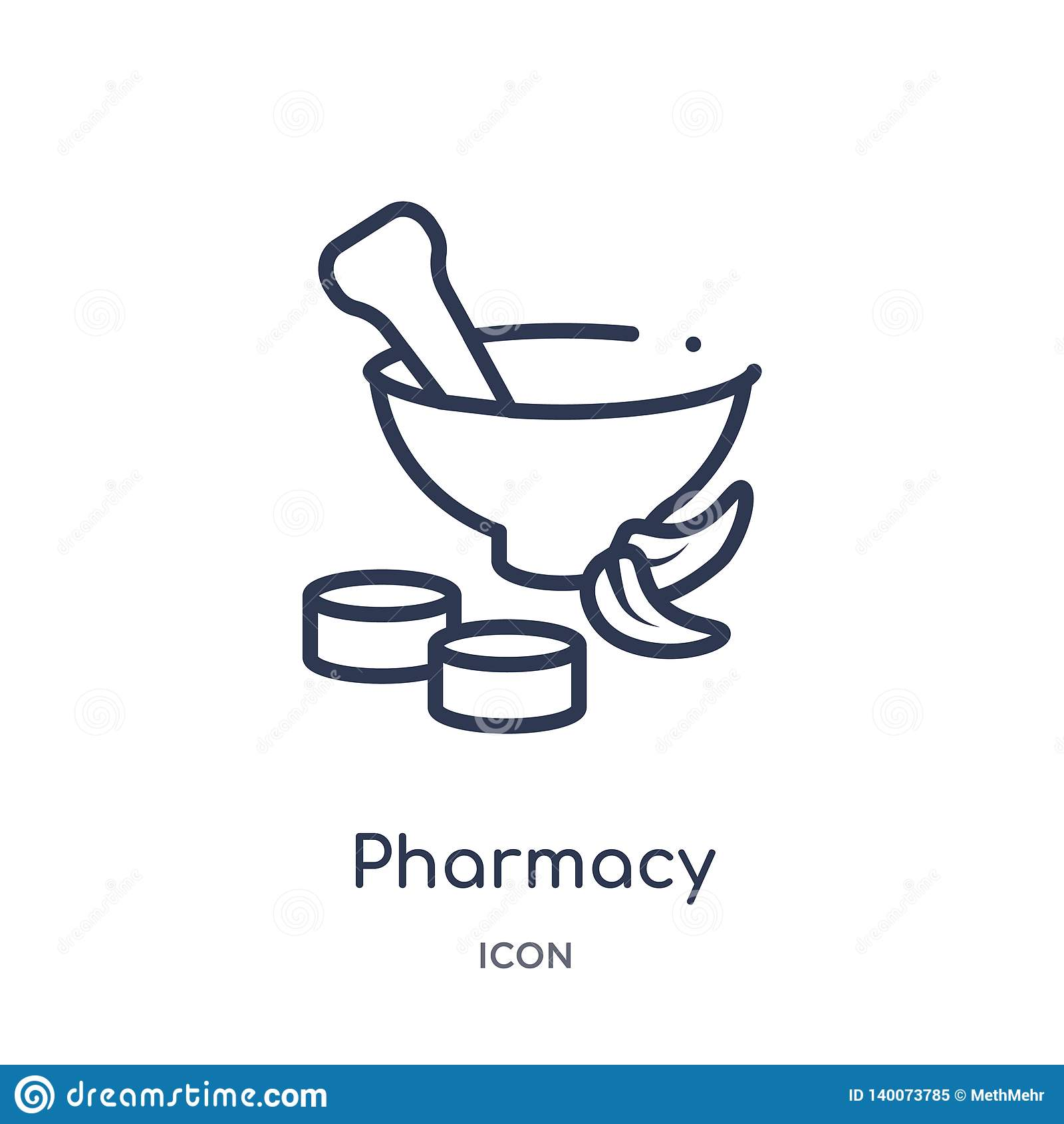 Icône linéaire de pharmacie de la collection médicale d ensemble Ligne mince icône de pharmacie d isolement sur le fond blanc pha