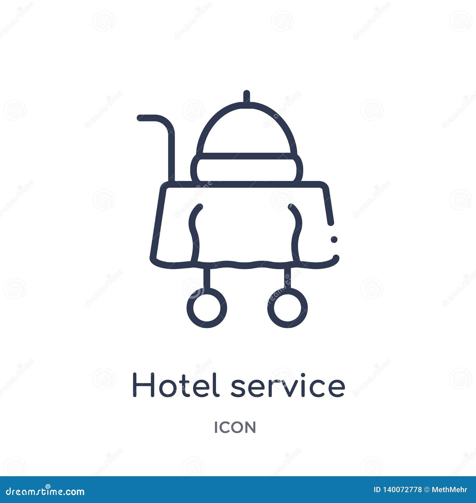 Icône linéaire de service hôtelier de collection d ensemble de nourriture Ligne mince icône de service hôtelier d isolement sur l