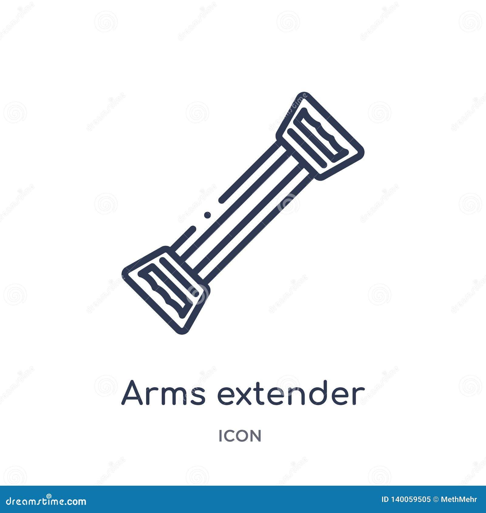Icône linéaire de supplément de bras de gymnase et de collection d ensemble de forme physique Ligne mince icône de supplément de