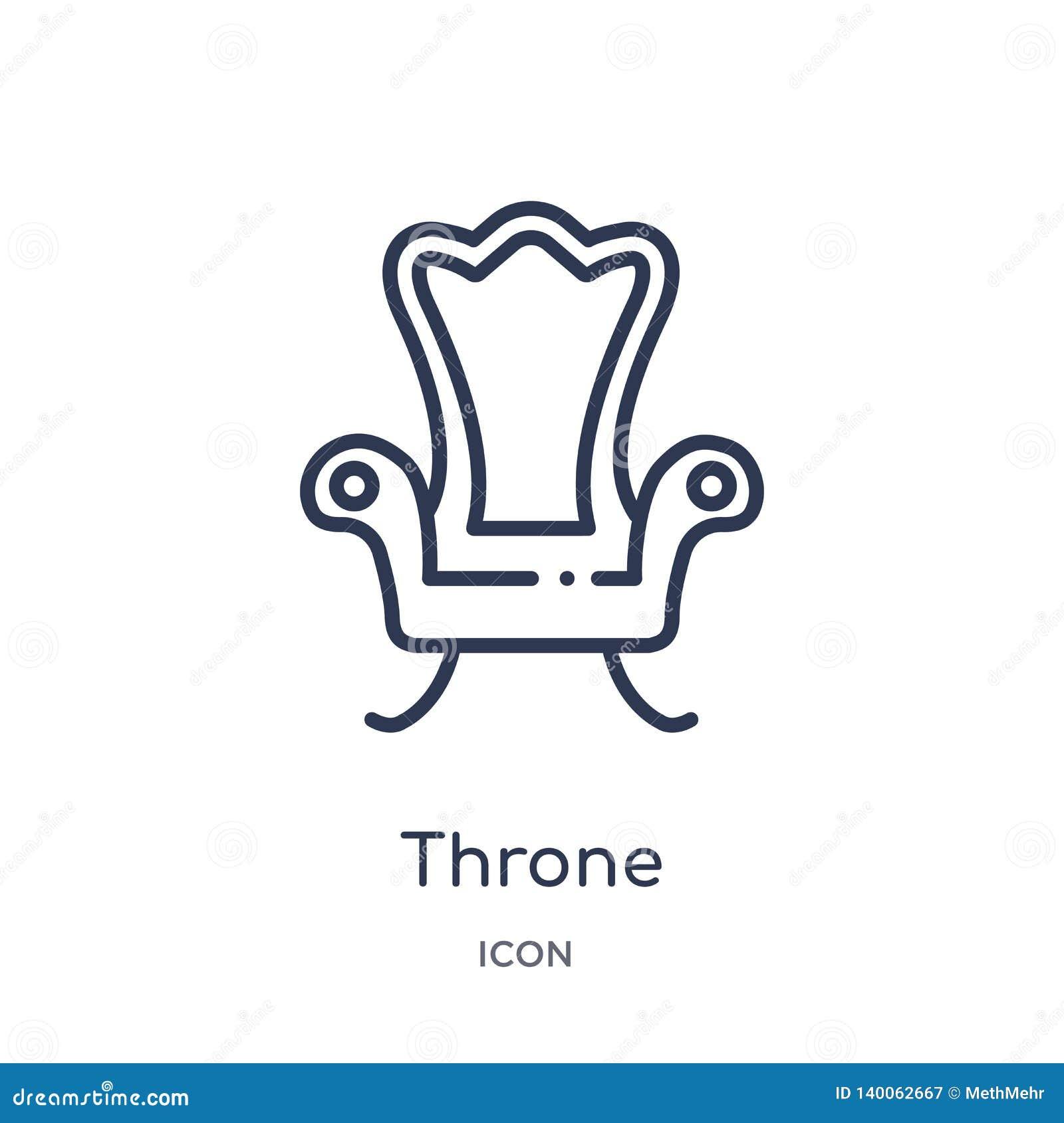 Icône linéaire de trône de la collection de luxe d ensemble Ligne mince icône de trône d isolement sur le fond blanc illustration