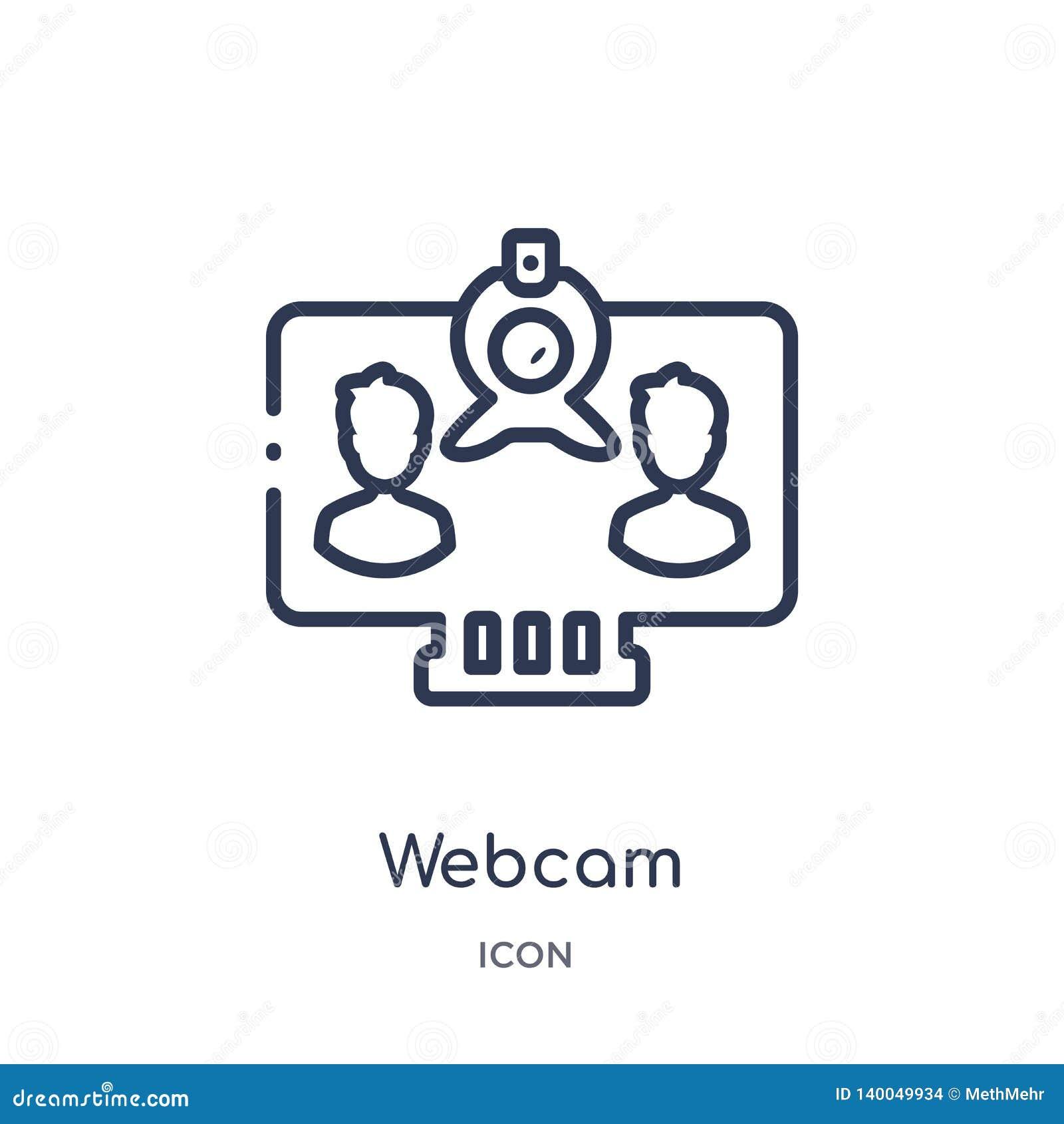 Icône linéaire de webcam de collection d ensemble de Blogger et d influencer Ligne mince vecteur de webcam d isolement sur le fon