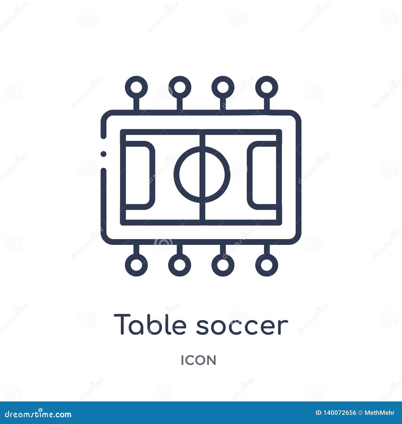 Icône linéaire du football de table de collection d ensemble de divertissement Ligne mince icône du football de table d isolement