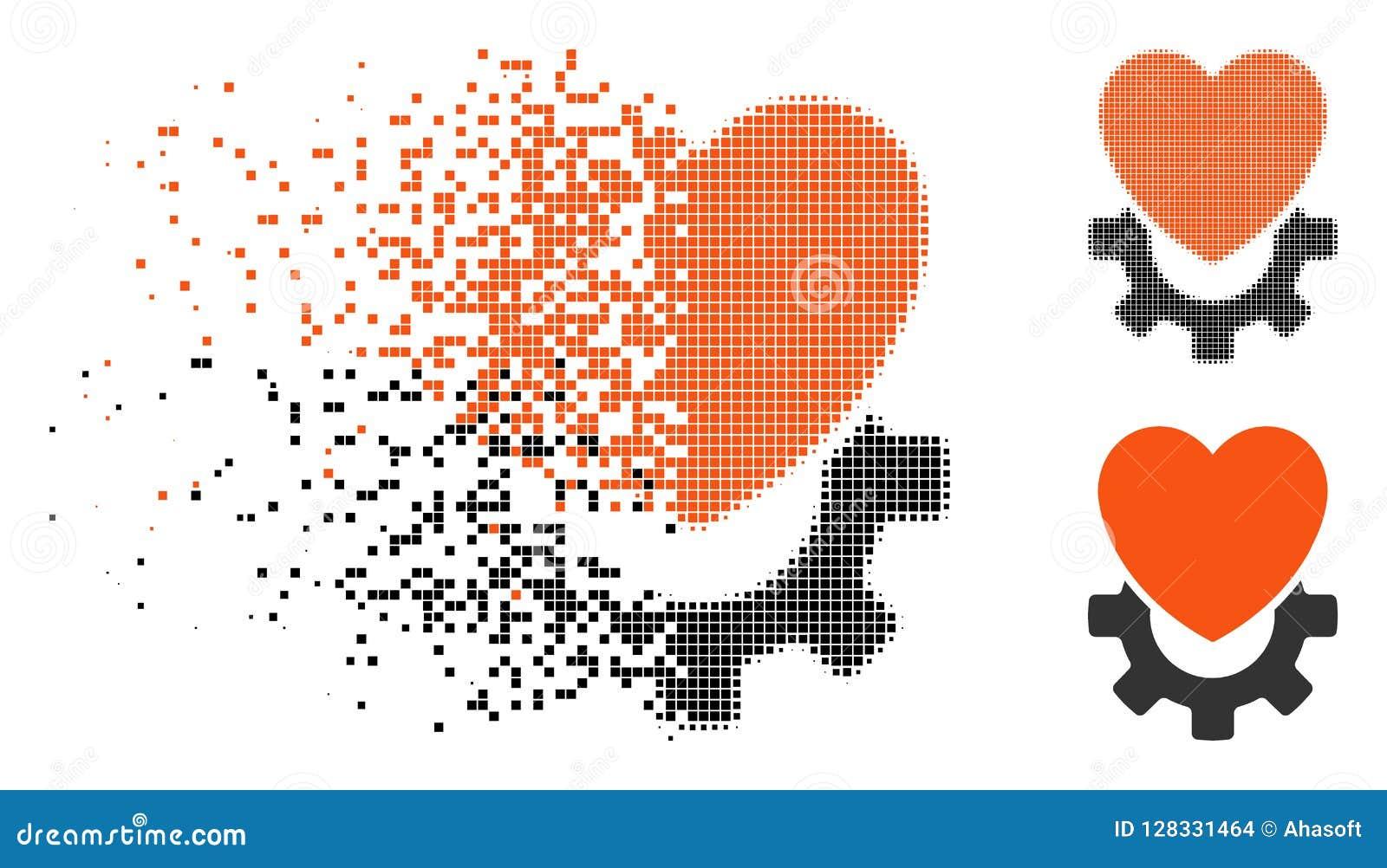 Icône Mécanique Tramée Détruite De Coeur De Pixel