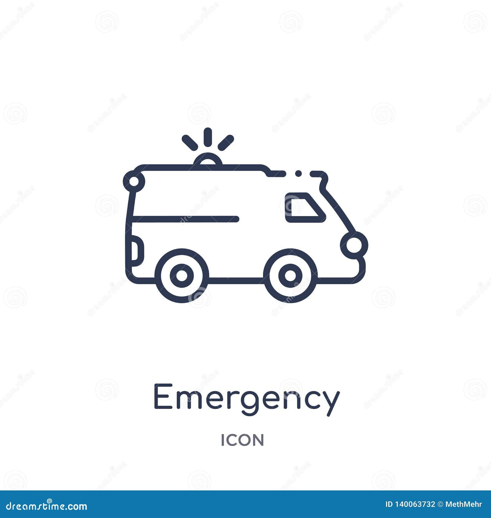 Icône médicale de véhicule de secours linéaire de collection d ensemble de Mechanicons Ligne mince icône médicale de véhicule de