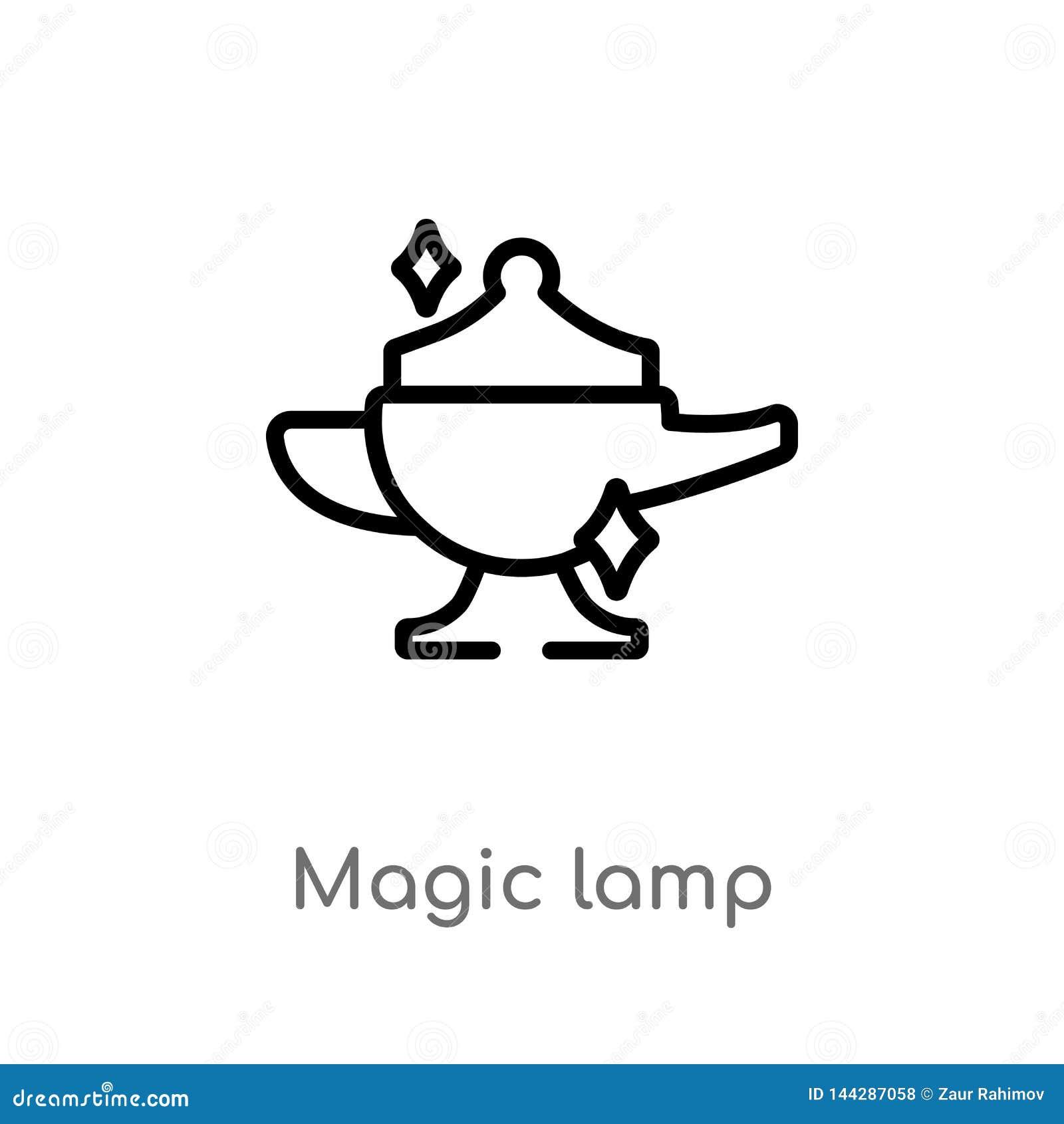 Ic?ne magique de vecteur de lampe d ensemble ligne simple noire d isolement illustration d ?l?ment de concept magique magie edita