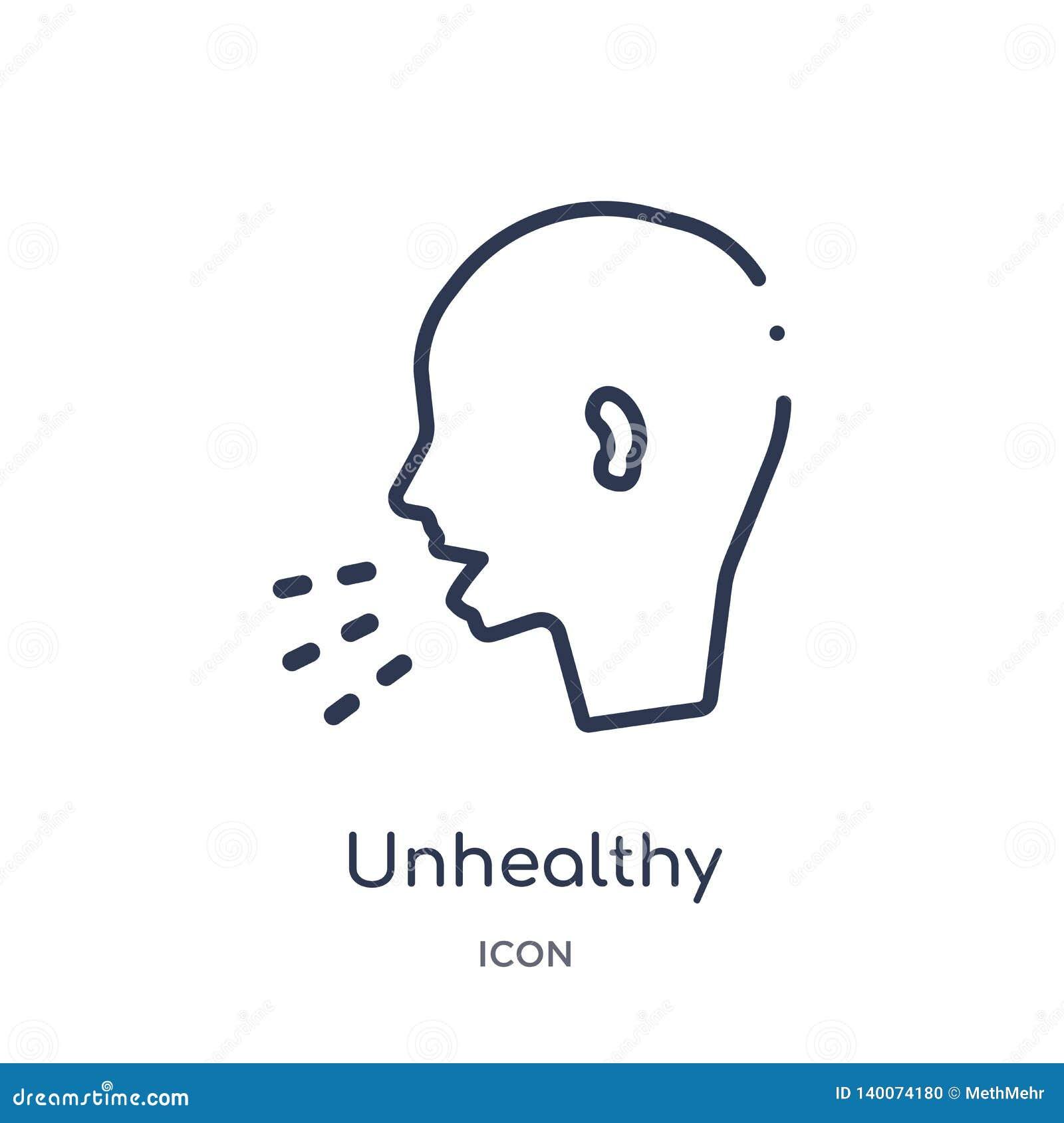 Icône malsaine linéaire de condition médicale de la collection médicale d ensemble Ligne mince icône malsaine de condition médica