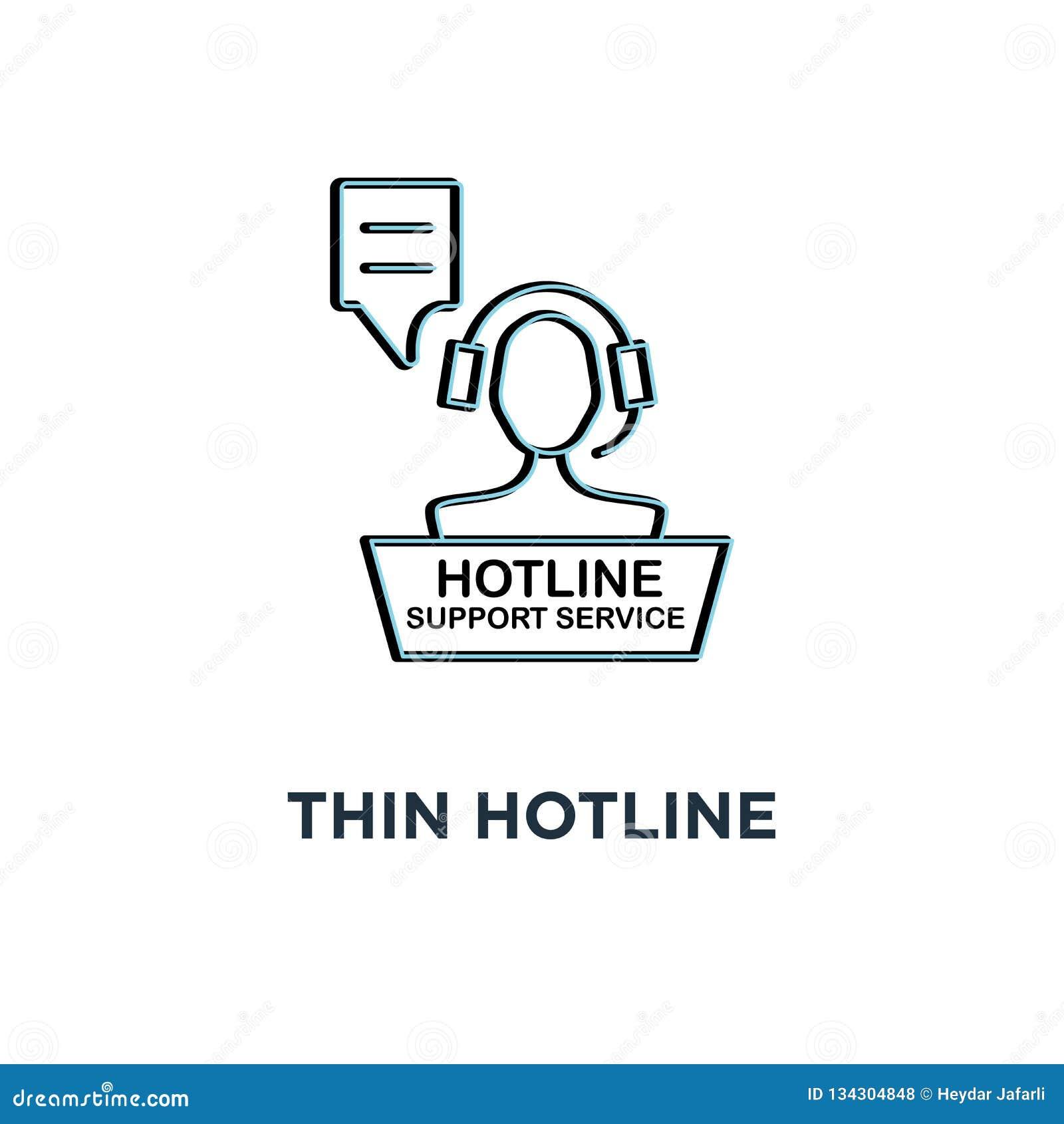 Icône mince rouge de service de support de ligne directe, contact d aide du symbole 24/7 pour le client par le conseiller ou styl