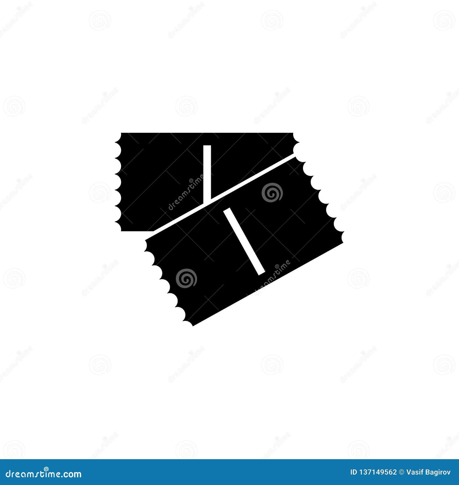 Icône monochrome de billet Illustration de vecteur Billet deux Billet de cinéma Graphisme de vecteur
