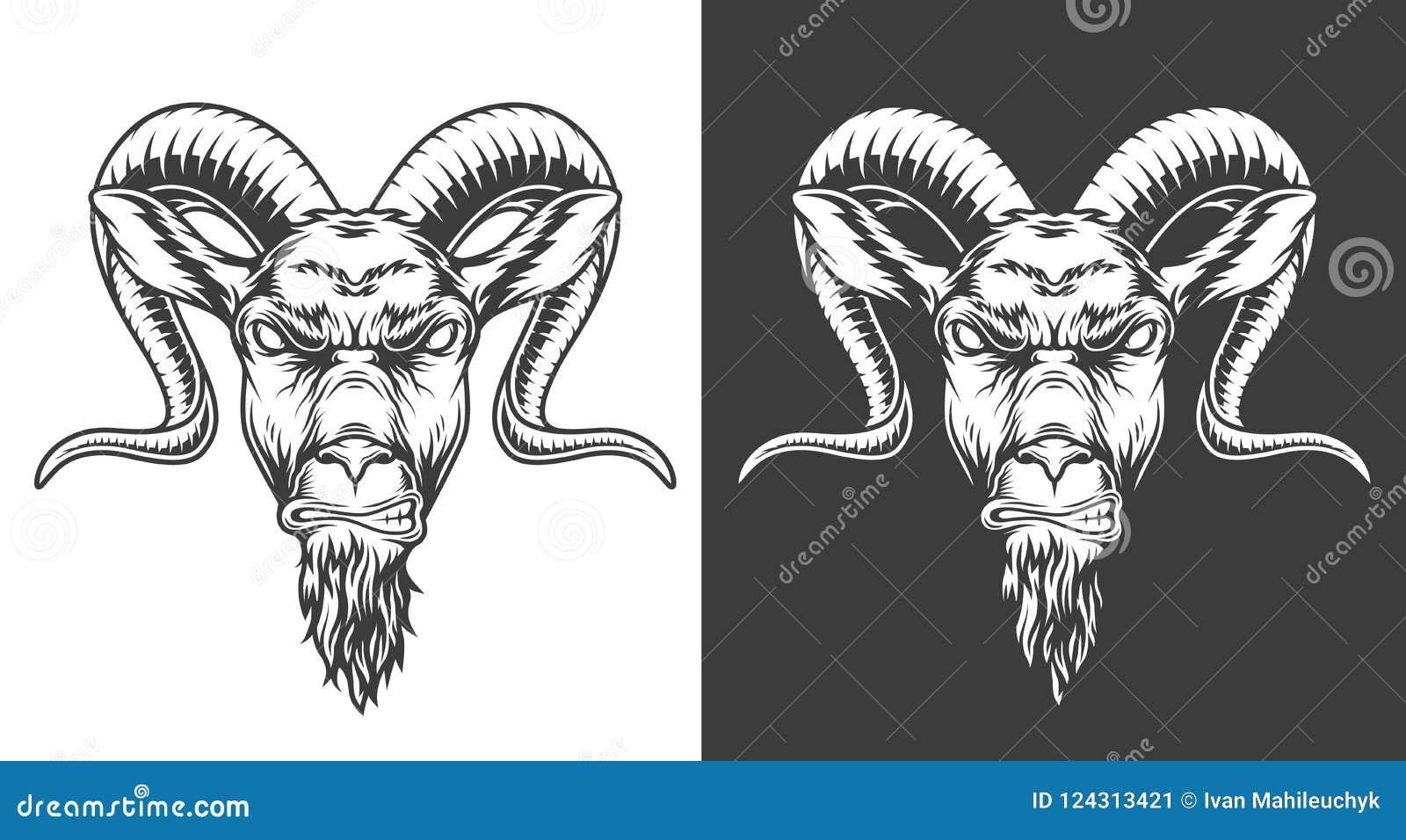 Icône monochrome de chèvre