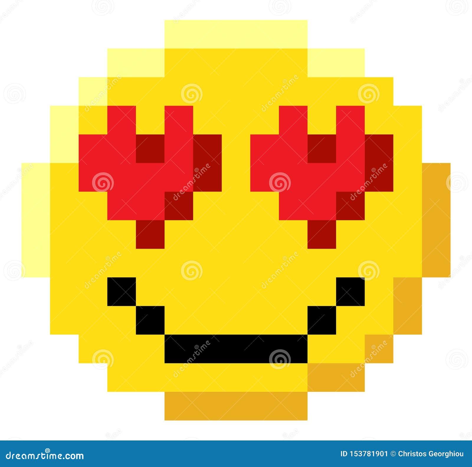 Icône mordue de jeu vidéo de l art 8 de pixel de visage d émoticône
