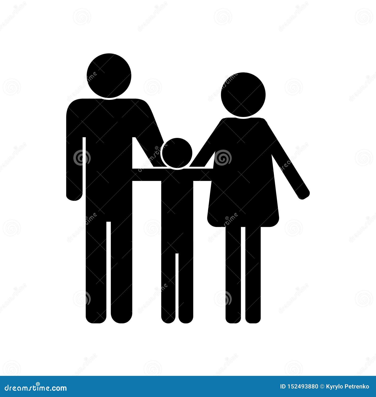 Icône noire d un vecteur blanc de fond de famille