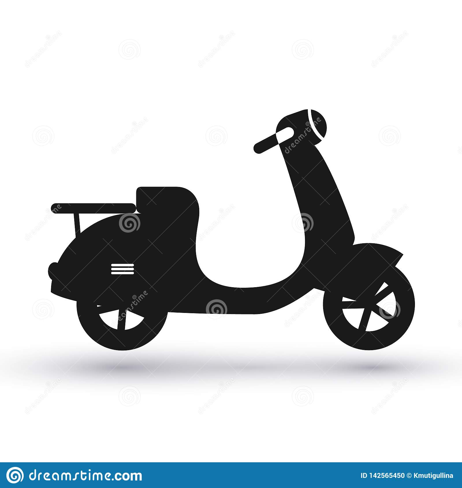 Icône noire de scooter
