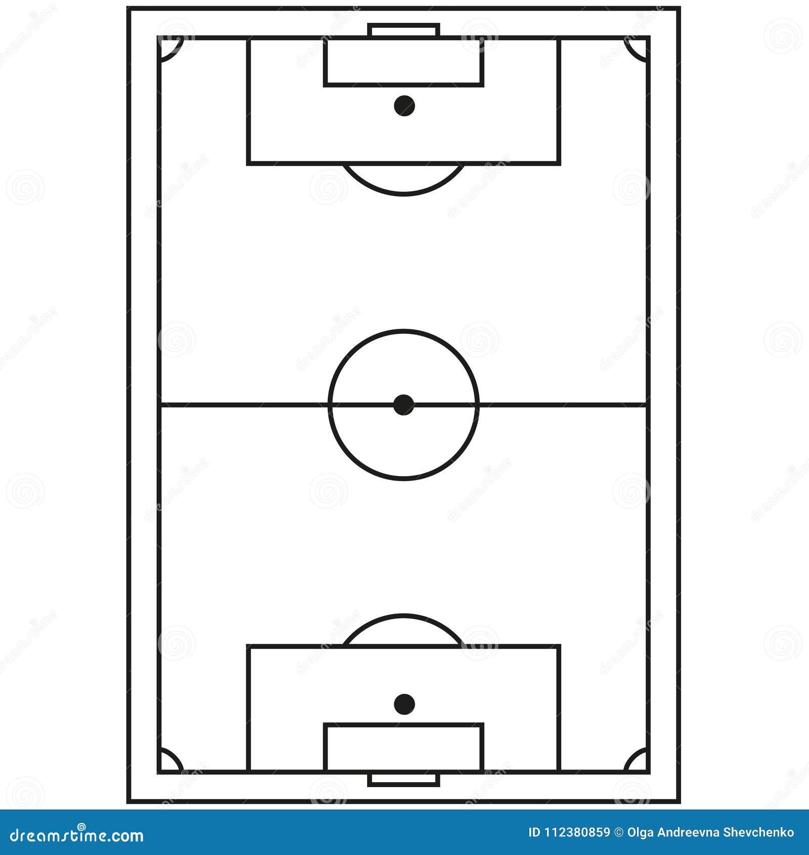 Coloriage Terrain De Foot.Icone Noire Et Blanche De Terrain De Football De Schema Illustration