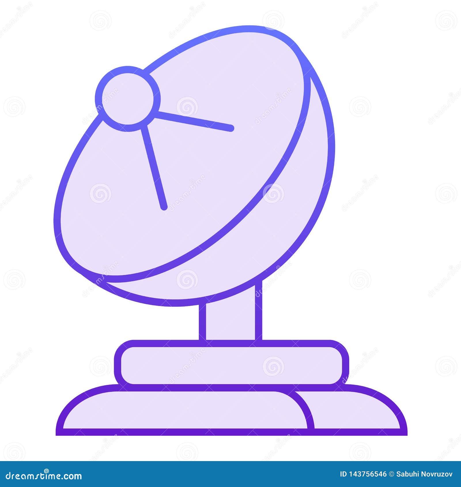 Icône plate d antenne parabolique Icônes violettes d antenne dans le style plat à la mode Conception de style de gradient de télé