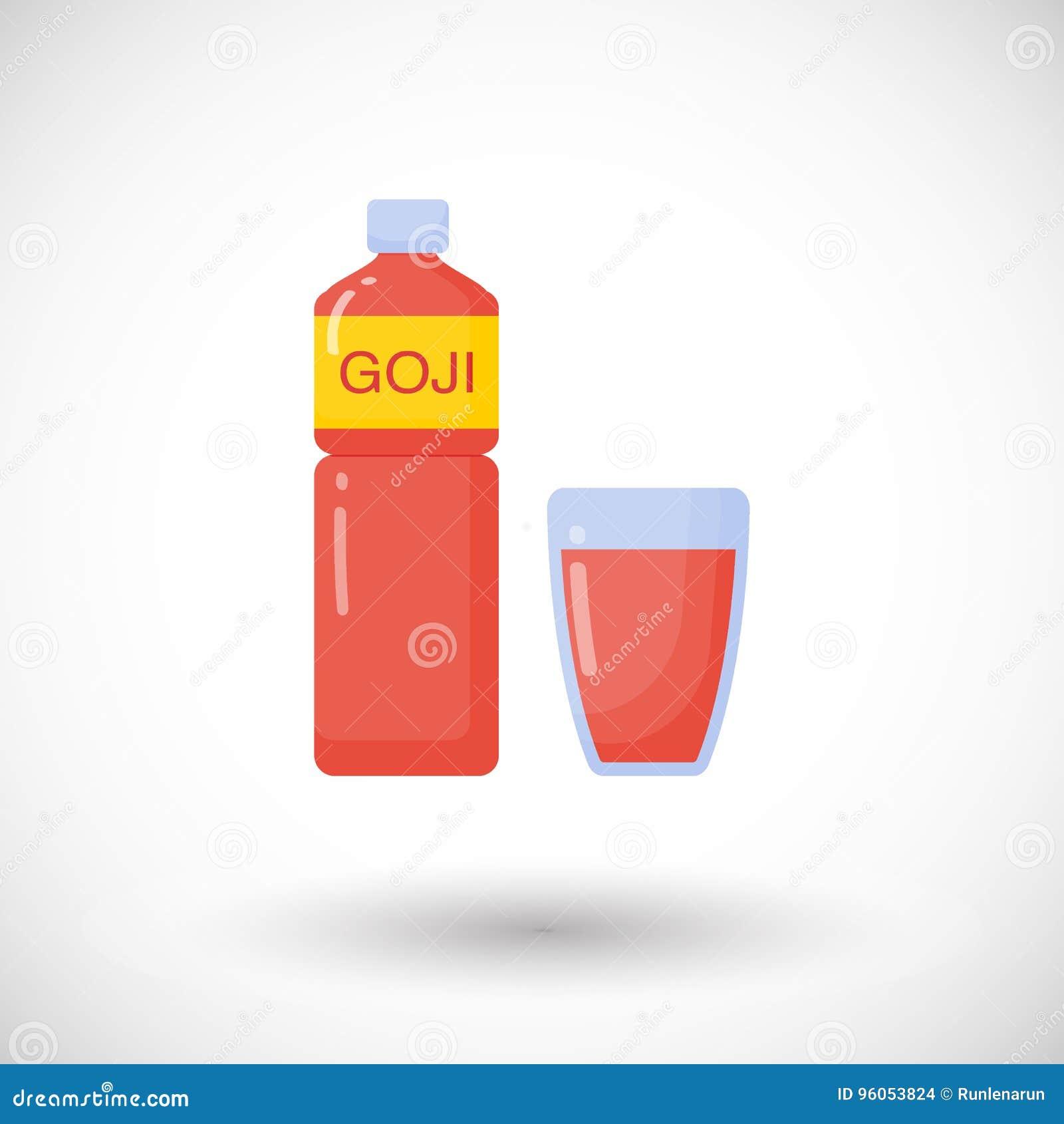 Icône plate de jus de baies de Goji