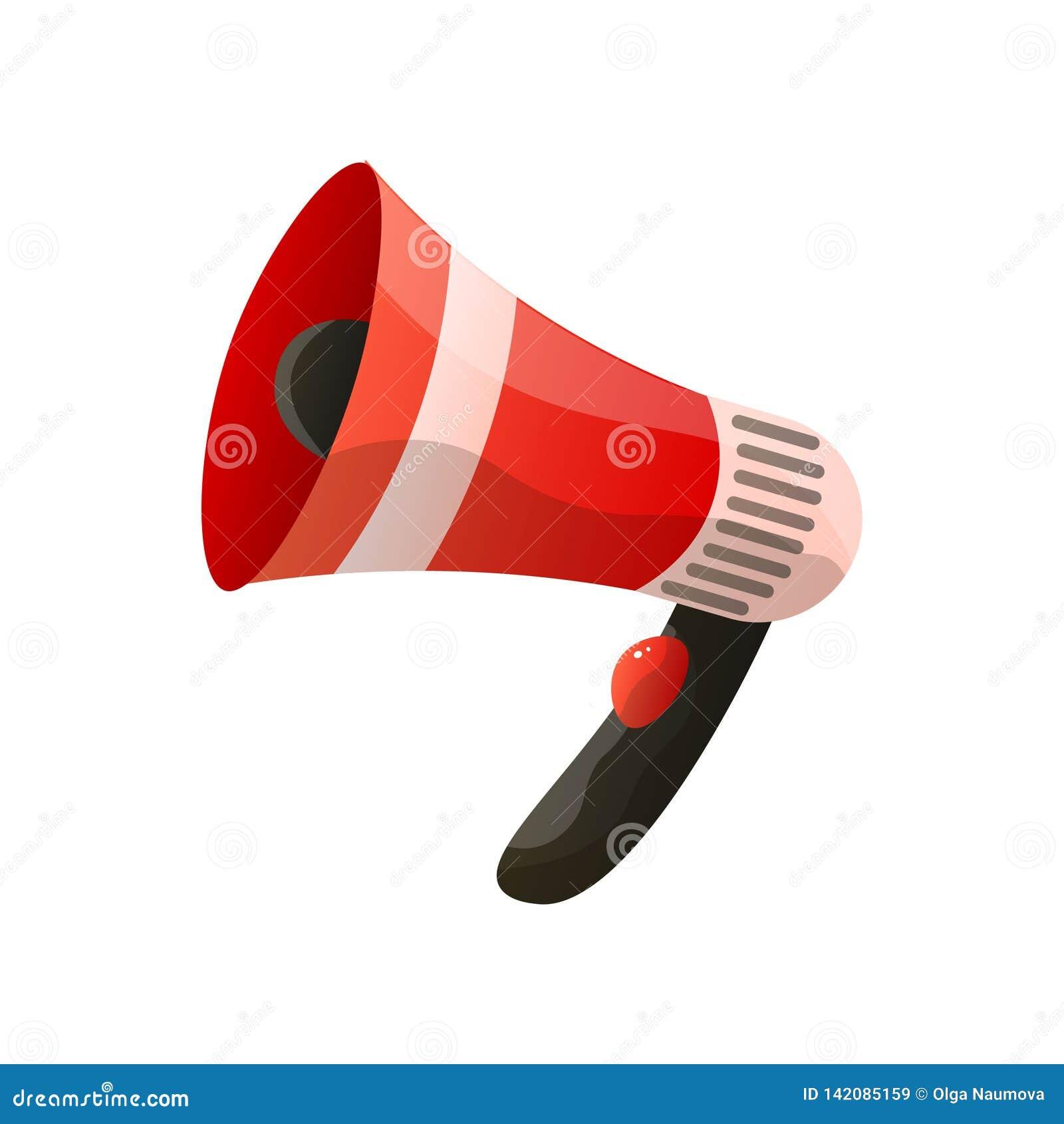 Icône plate de mégaphone rouge d isolement sur le fond blanc