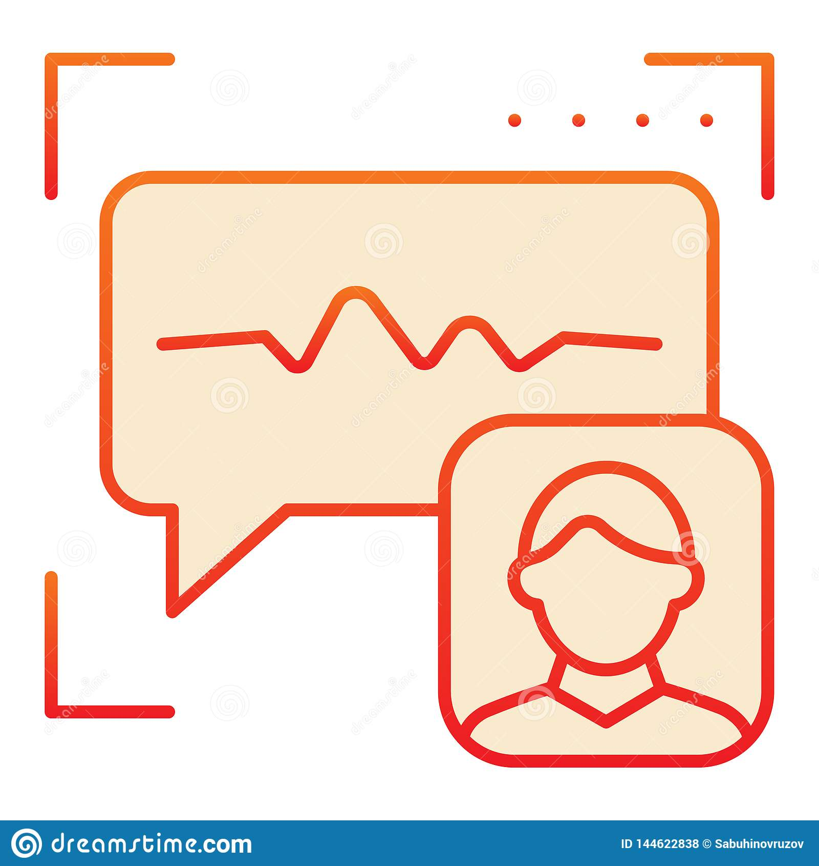 Icône plate de reconnaissance saine Icônes rouges d authentification de voix dans le style plat à la mode Style de gradient de vé