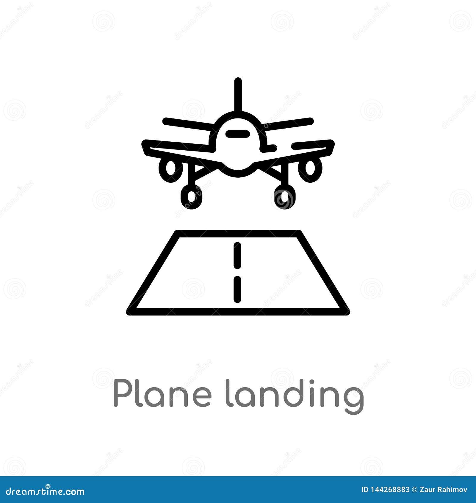 Icône plate de vecteur d atterrissage d ensemble ligne simple noire d isolement illustration d élément de concept de terminal d a