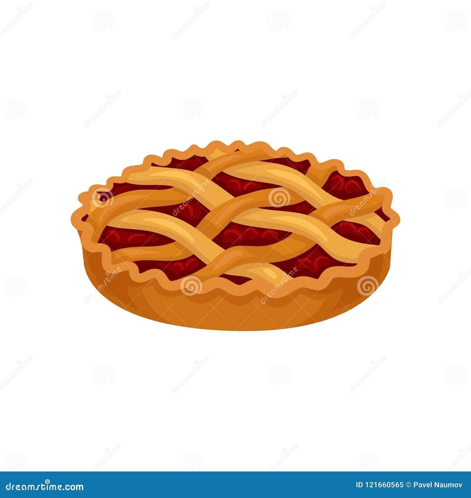 Icône plate de vecteur de tarte fraîchement cuit au four avec le remplissage de cerise Nourriture douce Dessert délicieux Élément