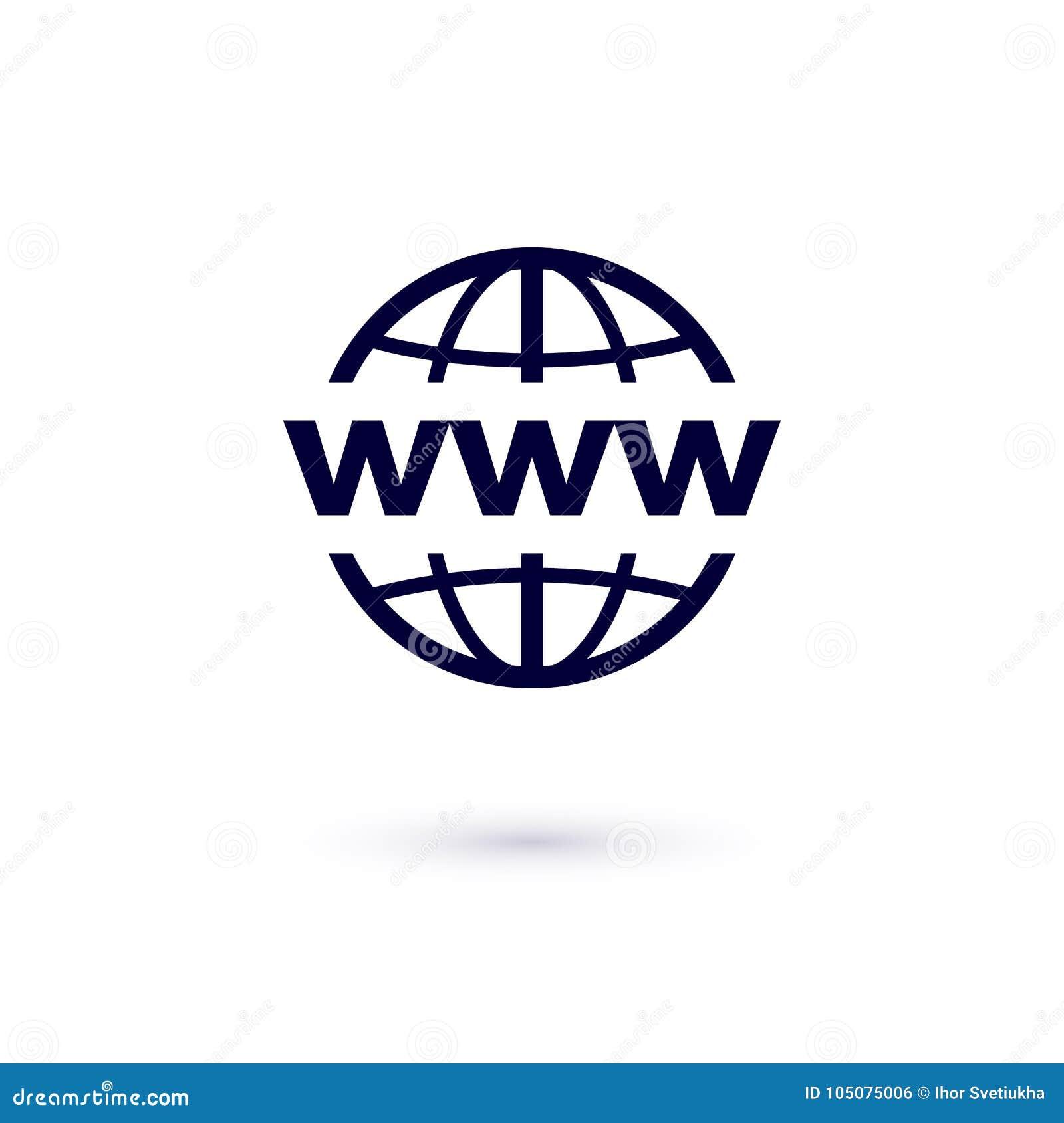 Icône plate de WWW Illustration de concept de vecteur pour la conception Graphisme de World Wide Web